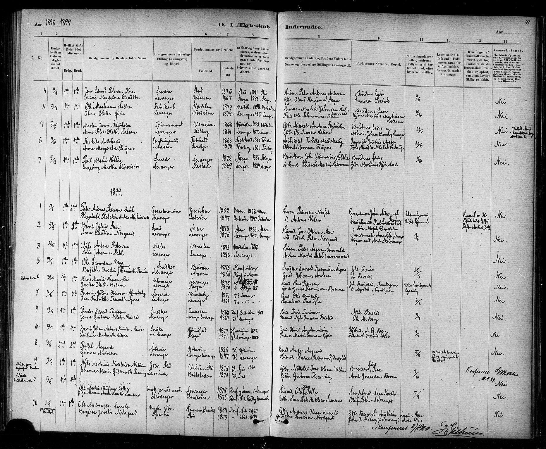 SAT, Ministerialprotokoller, klokkerbøker og fødselsregistre - Nord-Trøndelag, 720/L0192: Klokkerbok nr. 720C01, 1880-1917, s. 91