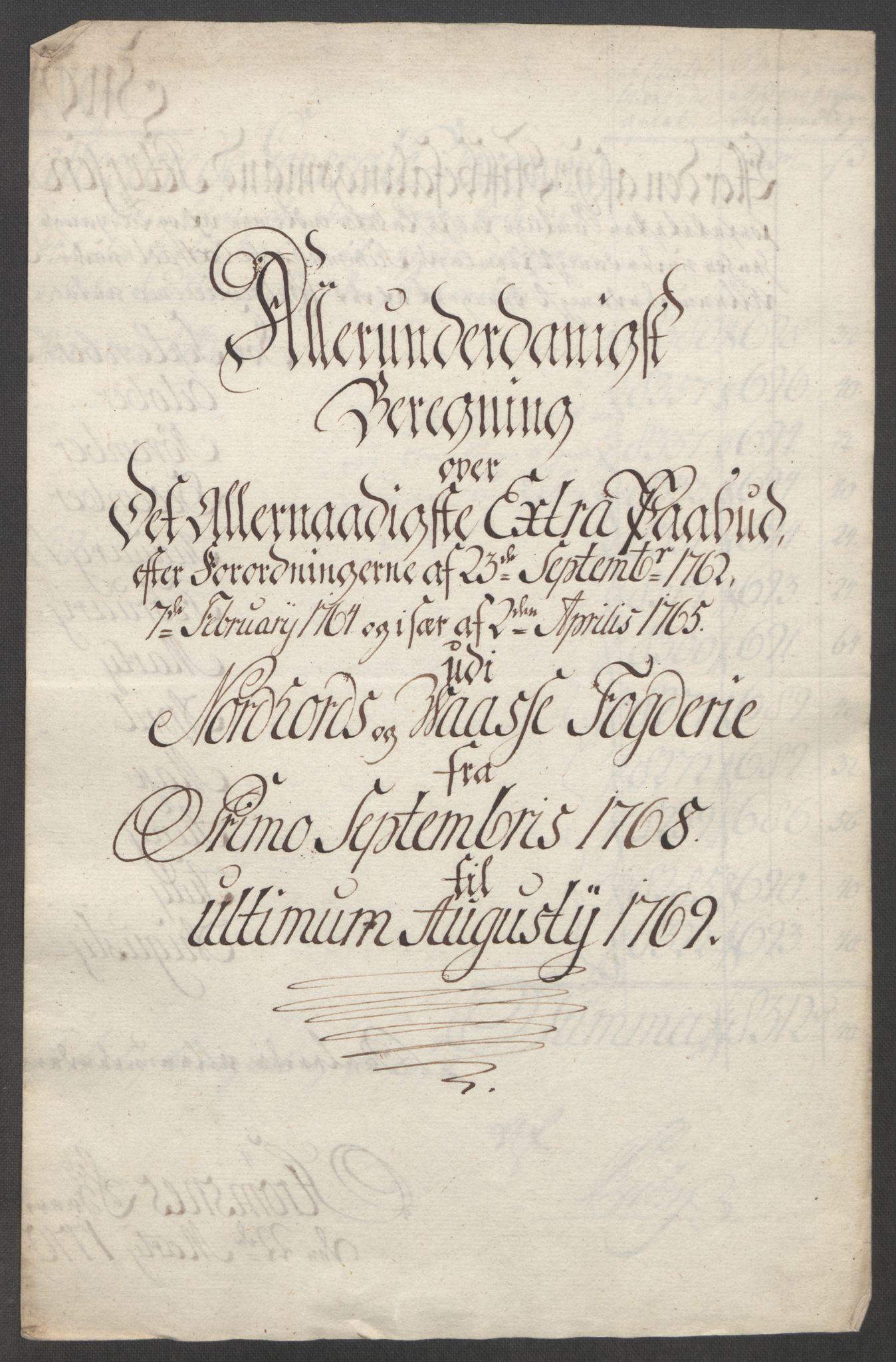 RA, Rentekammeret inntil 1814, Reviderte regnskaper, Fogderegnskap, R51/L3303: Ekstraskatten Nordhordland og Voss, 1762-1772, s. 349