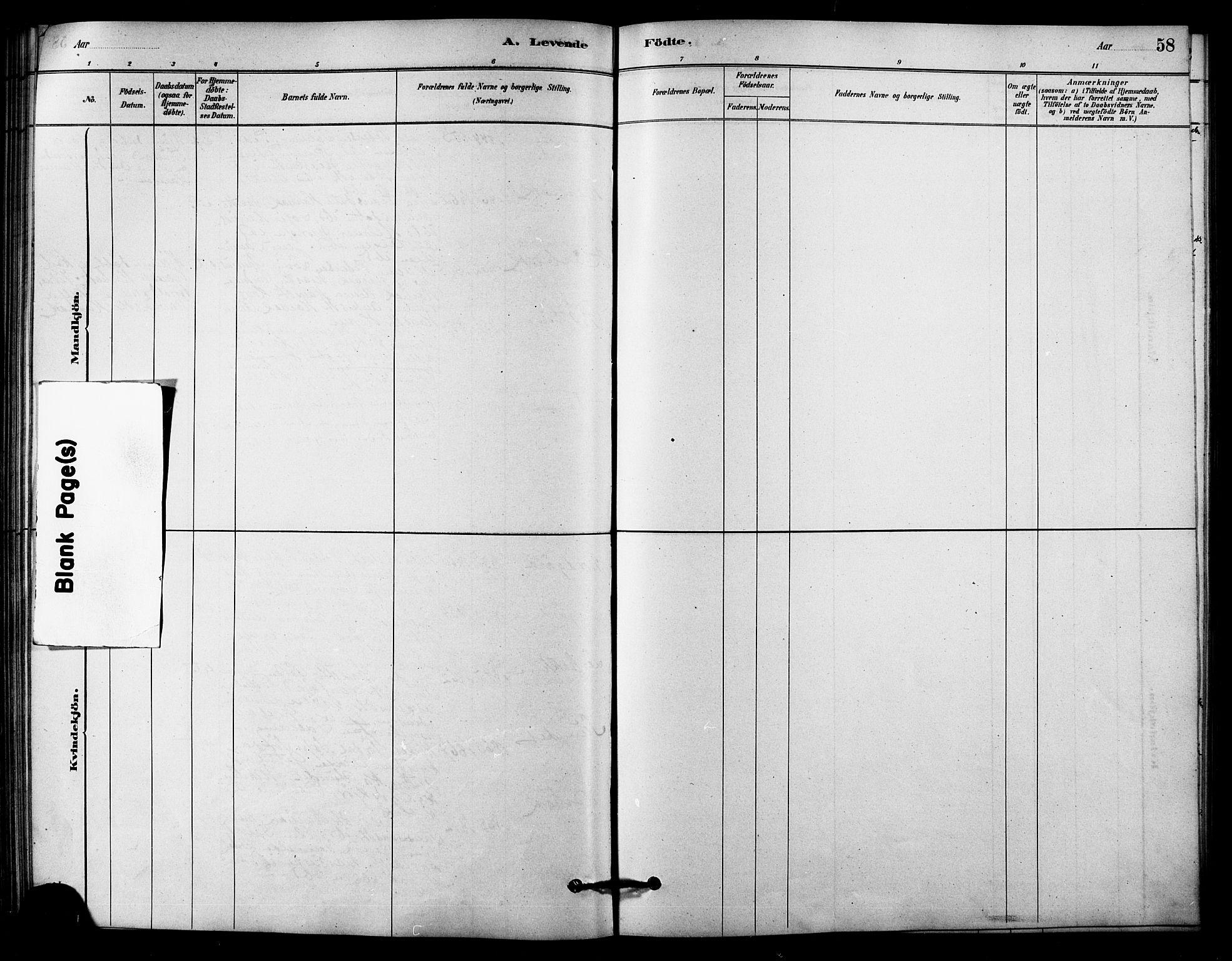 SAT, Ministerialprotokoller, klokkerbøker og fødselsregistre - Sør-Trøndelag, 656/L0692: Ministerialbok nr. 656A01, 1879-1893, s. 58