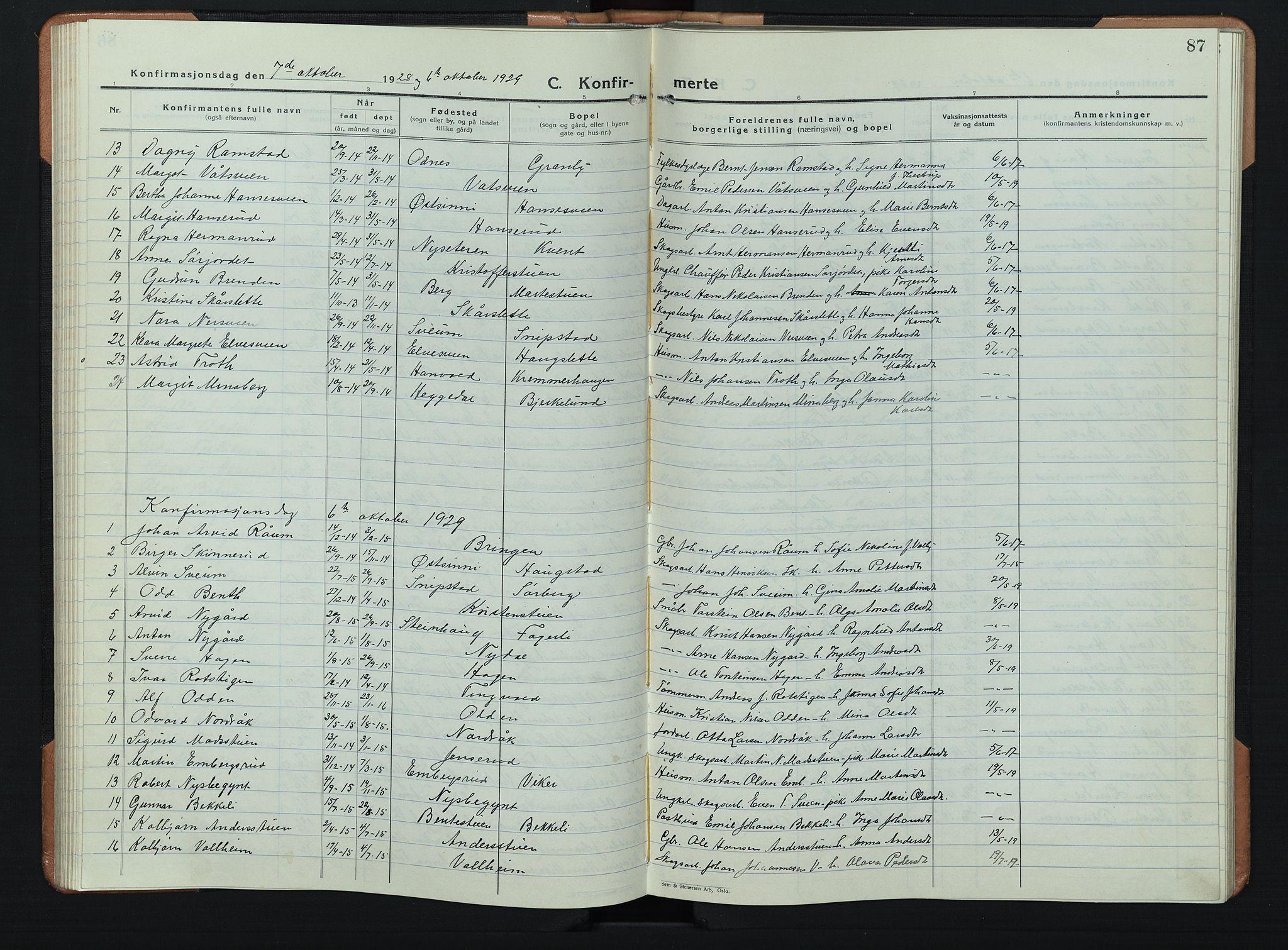 SAH, Søndre Land prestekontor, L/L0008: Klokkerbok nr. 8, 1926-1950, s. 87