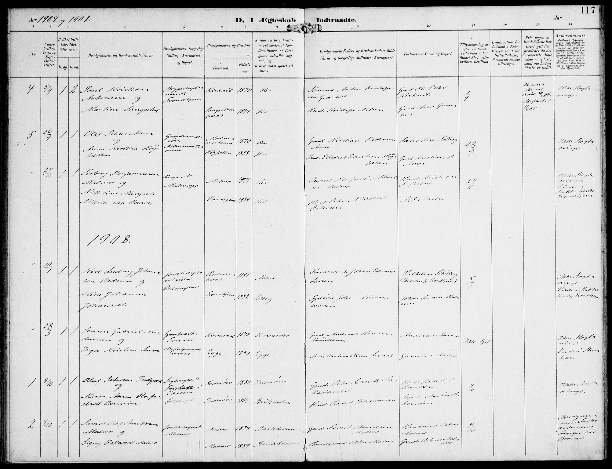 SAT, Ministerialprotokoller, klokkerbøker og fødselsregistre - Nord-Trøndelag, 745/L0430: Ministerialbok nr. 745A02, 1895-1913, s. 117