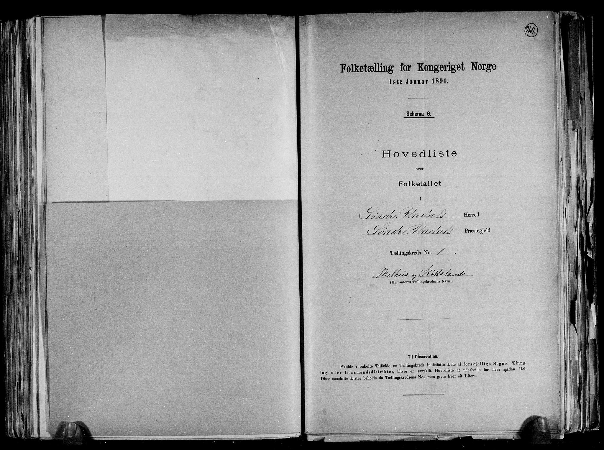 RA, Folketelling 1891 for 1029 Sør-Audnedal herred, 1891, s. 7