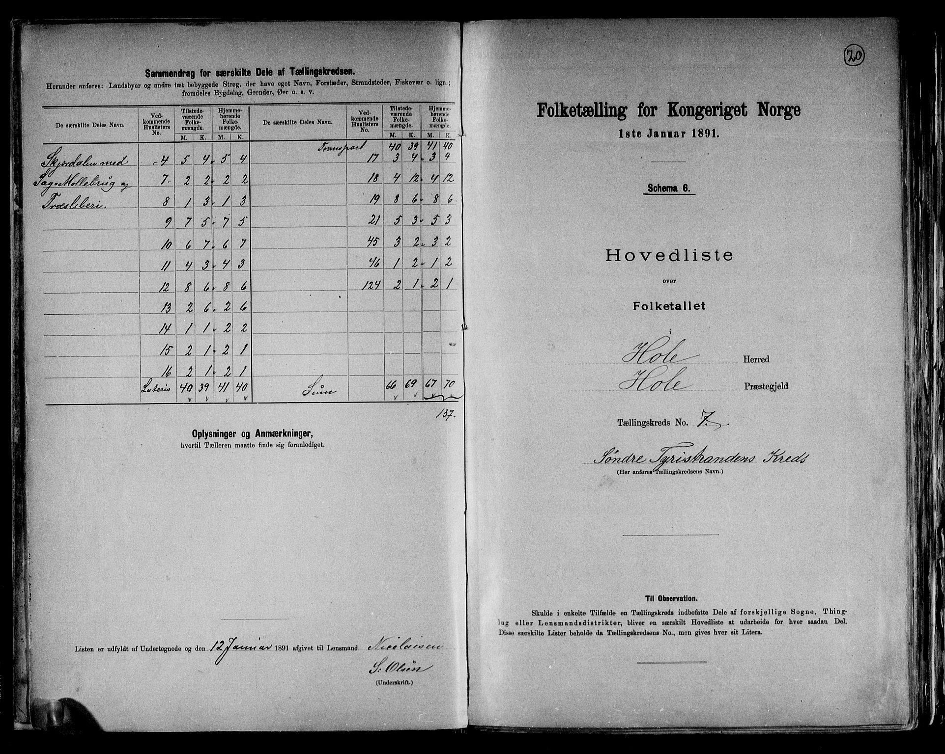 RA, Folketelling 1891 for 0612 Hole herred, 1891, s. 22