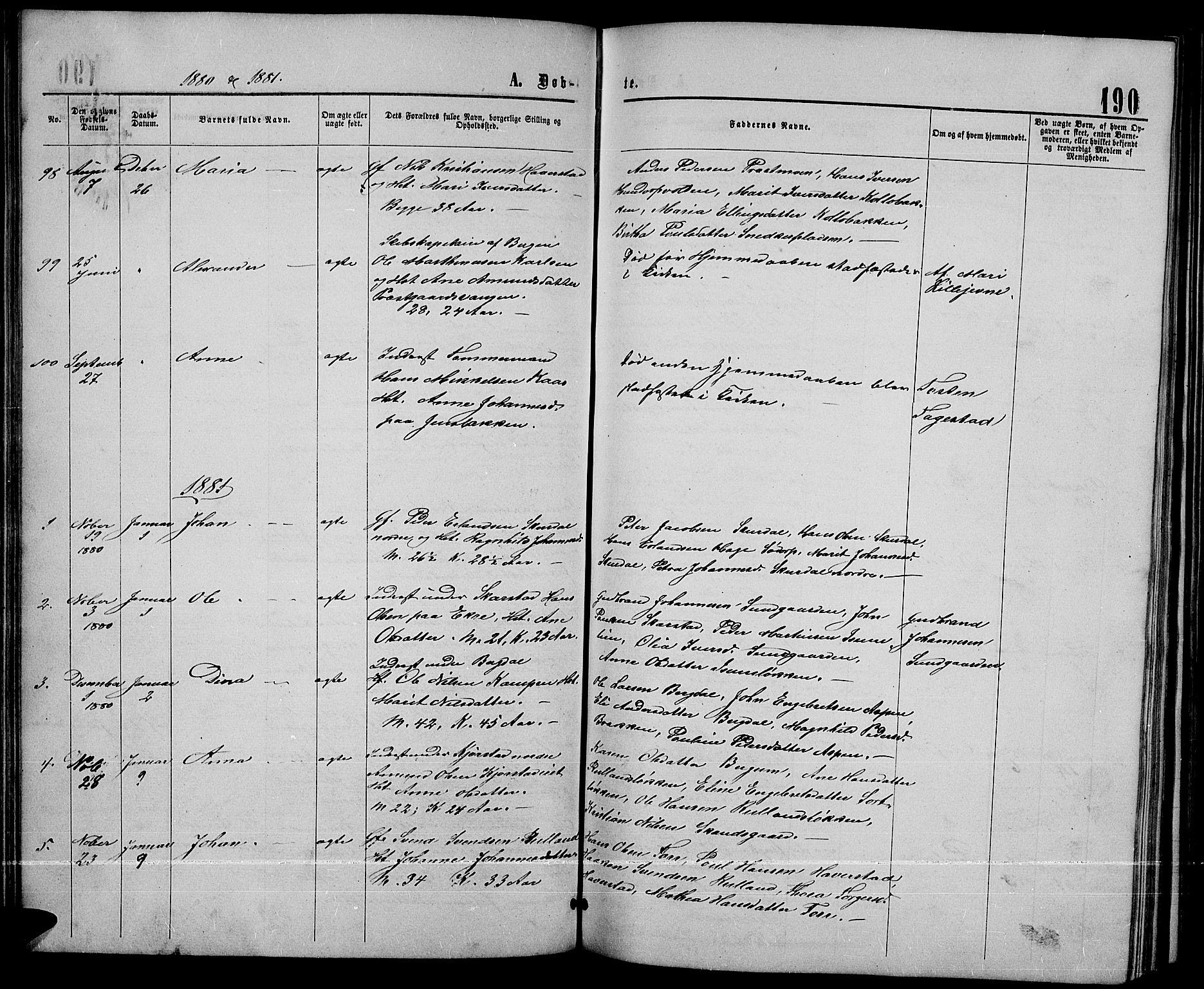 SAH, Sør-Fron prestekontor, H/Ha/Hab/L0002: Klokkerbok nr. 2, 1864-1883, s. 190