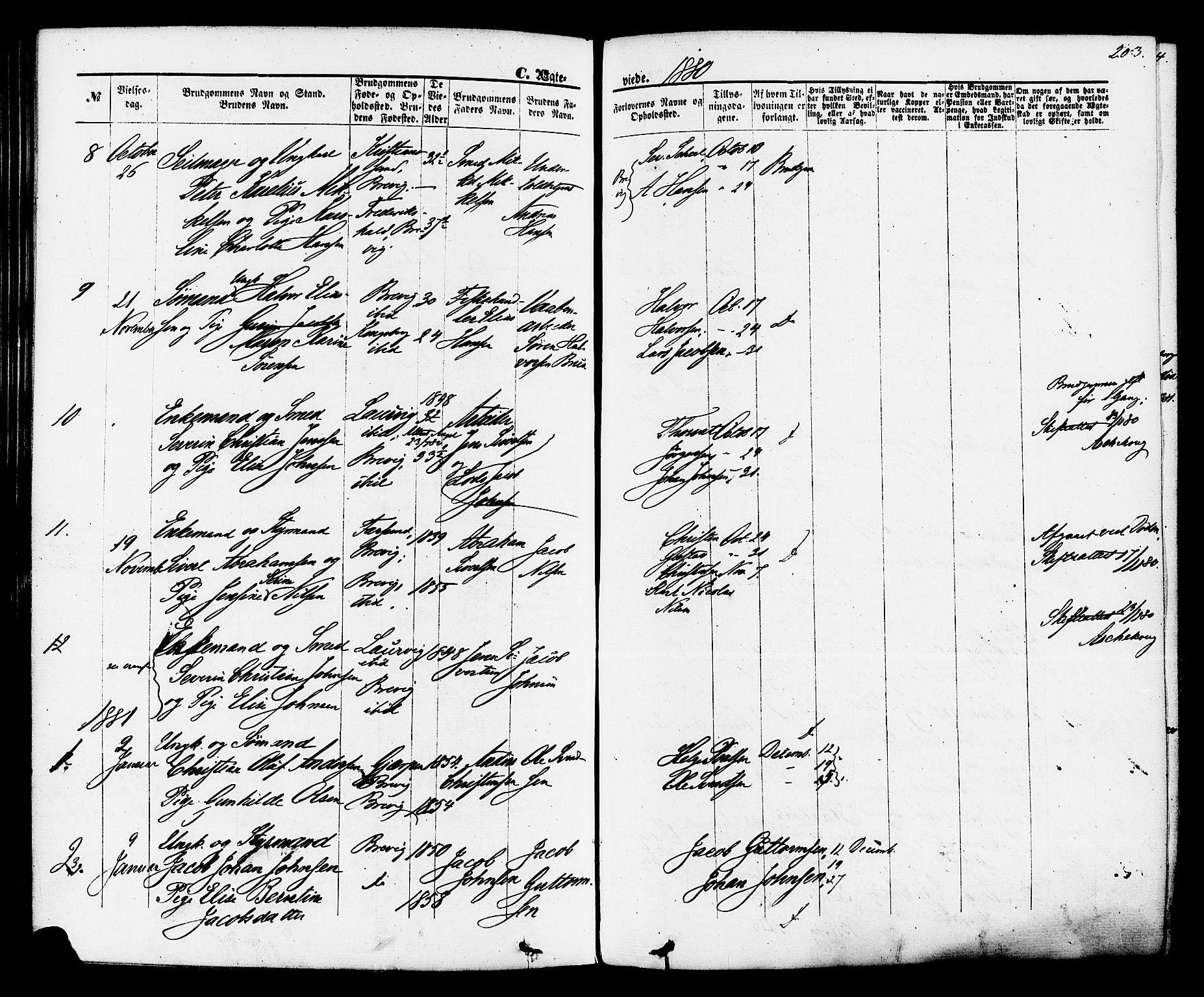 SAKO, Brevik kirkebøker, F/Fa/L0006: Ministerialbok nr. 6, 1866-1881, s. 203