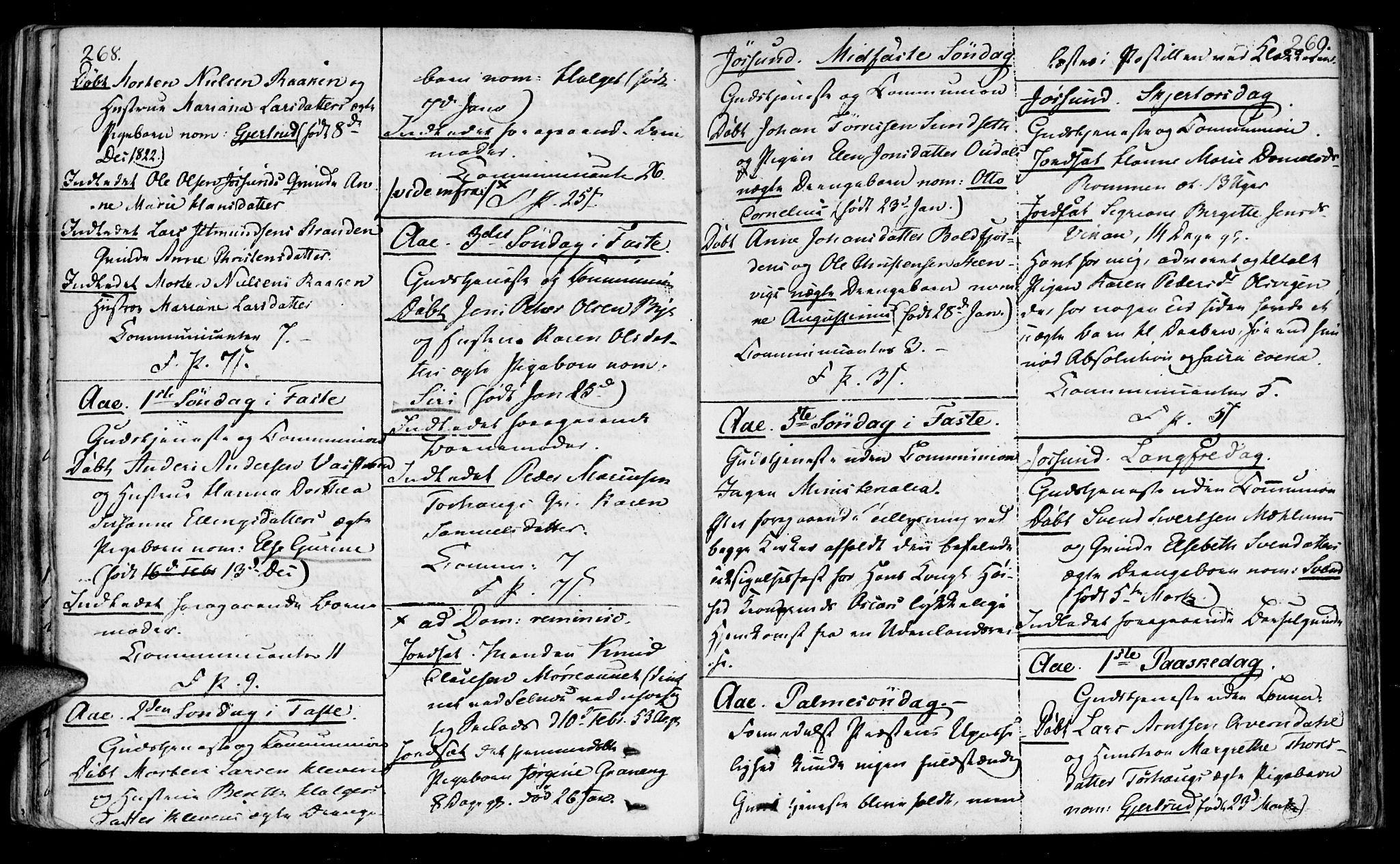SAT, Ministerialprotokoller, klokkerbøker og fødselsregistre - Sør-Trøndelag, 655/L0674: Ministerialbok nr. 655A03, 1802-1826, s. 268-269