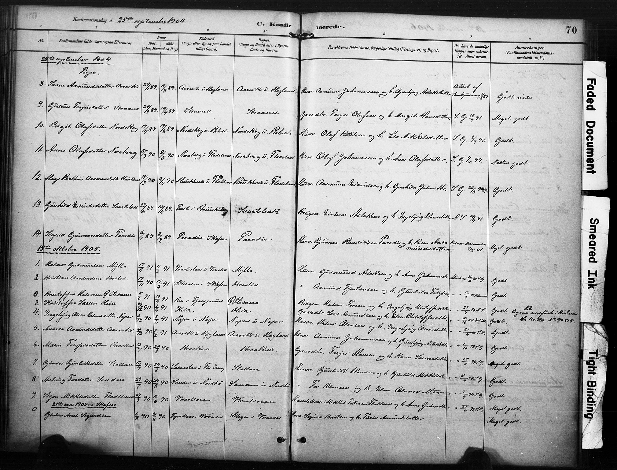 SAKO, Kviteseid kirkebøker, F/Fc/L0002: Ministerialbok nr. III 2, 1882-1908, s. 70