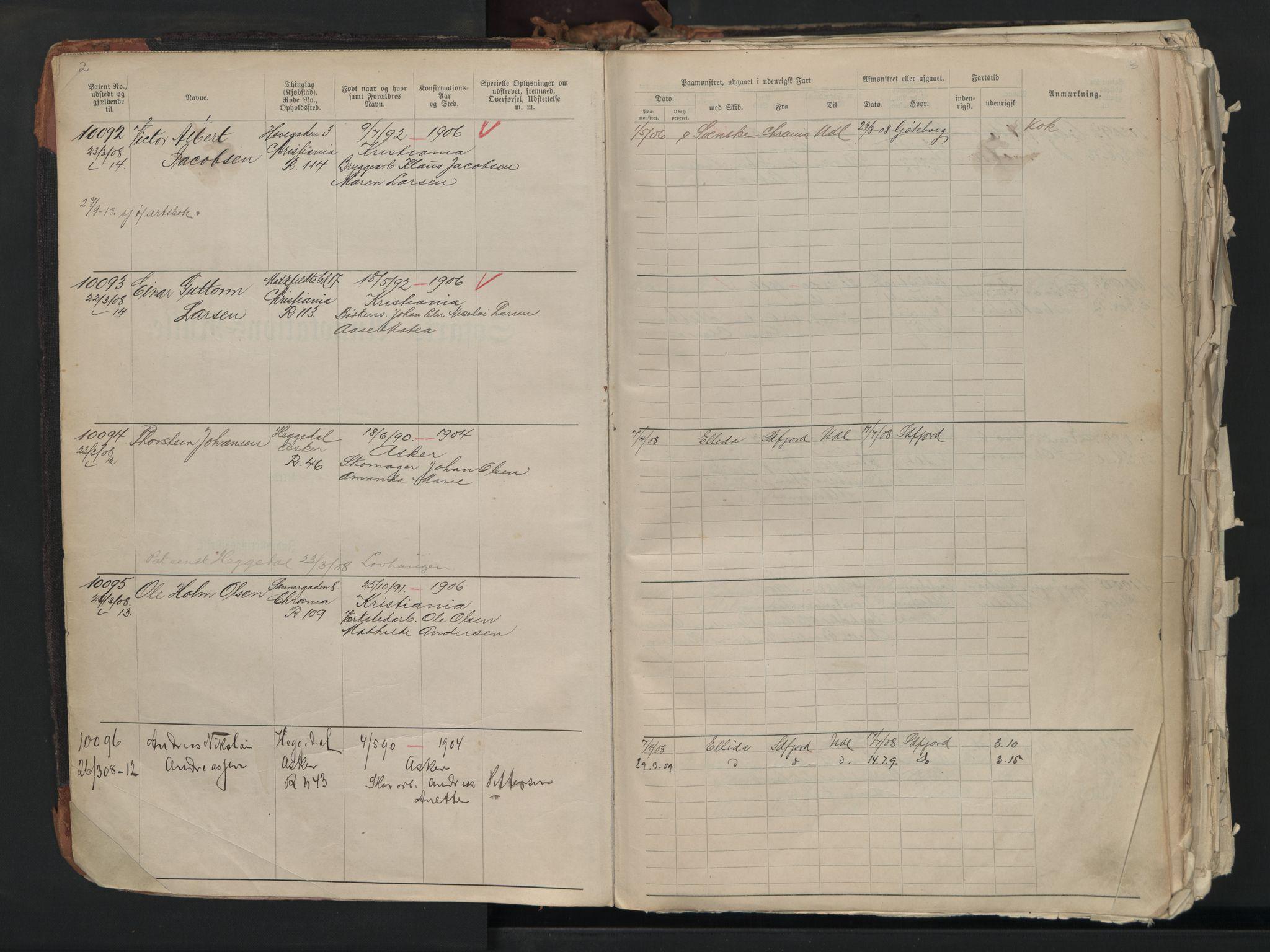 SAO, Oslo sjømannskontor, F/Fb/L0001: Annotasjonsrulle, 1908-1938, s. 2-3