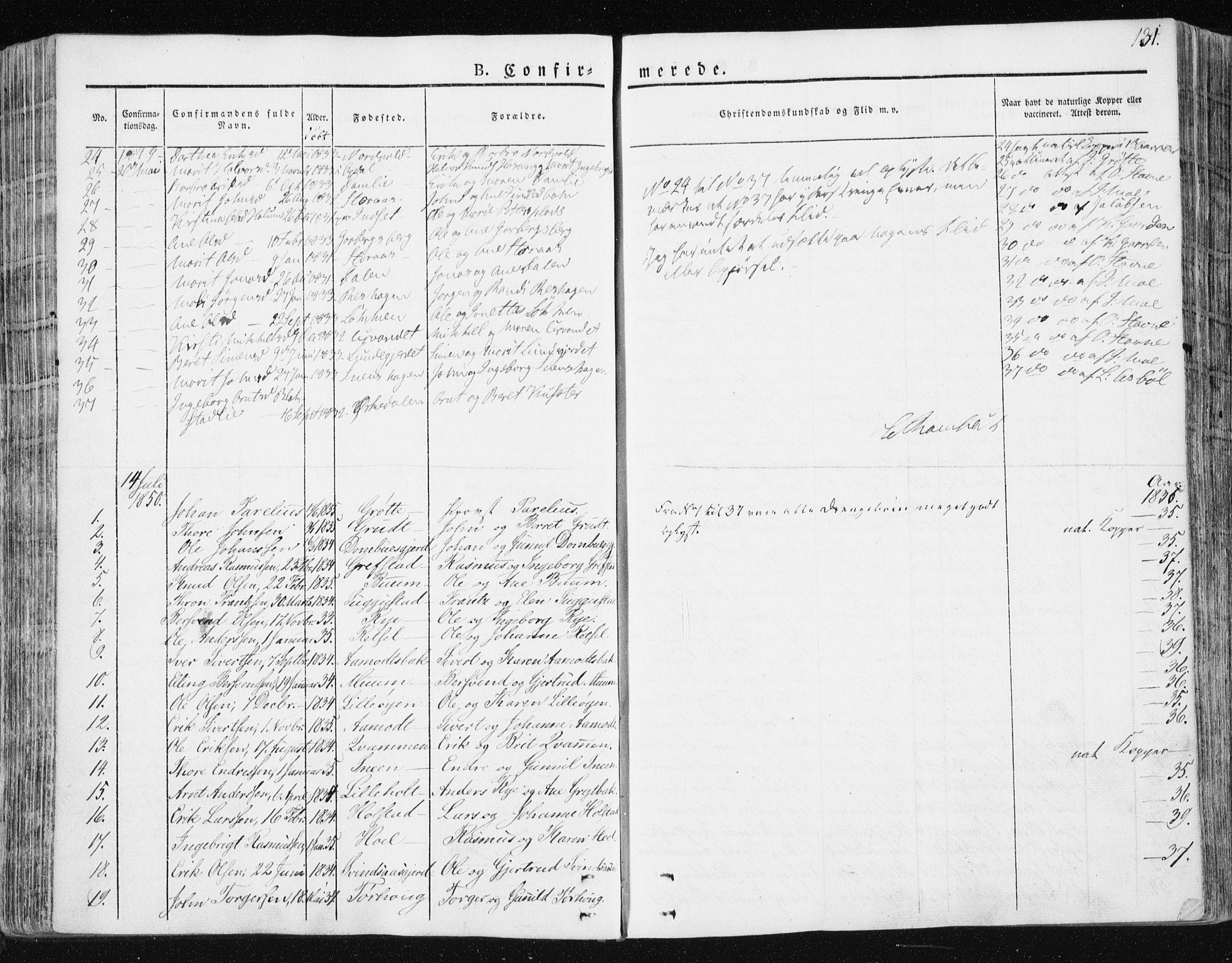 SAT, Ministerialprotokoller, klokkerbøker og fødselsregistre - Sør-Trøndelag, 672/L0855: Ministerialbok nr. 672A07, 1829-1860, s. 131