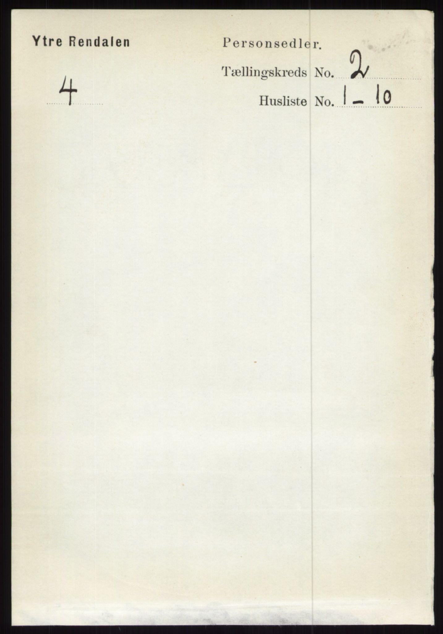 RA, Folketelling 1891 for 0432 Ytre Rendal herred, 1891, s. 292