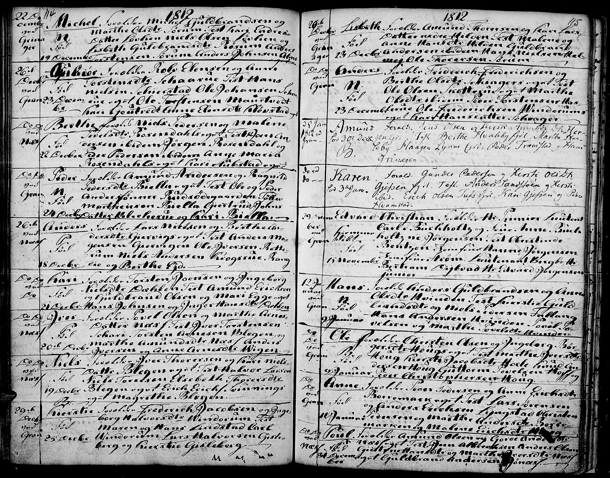 SAH, Gran prestekontor, Ministerialbok nr. 7, 1804-1815, s. 114-115