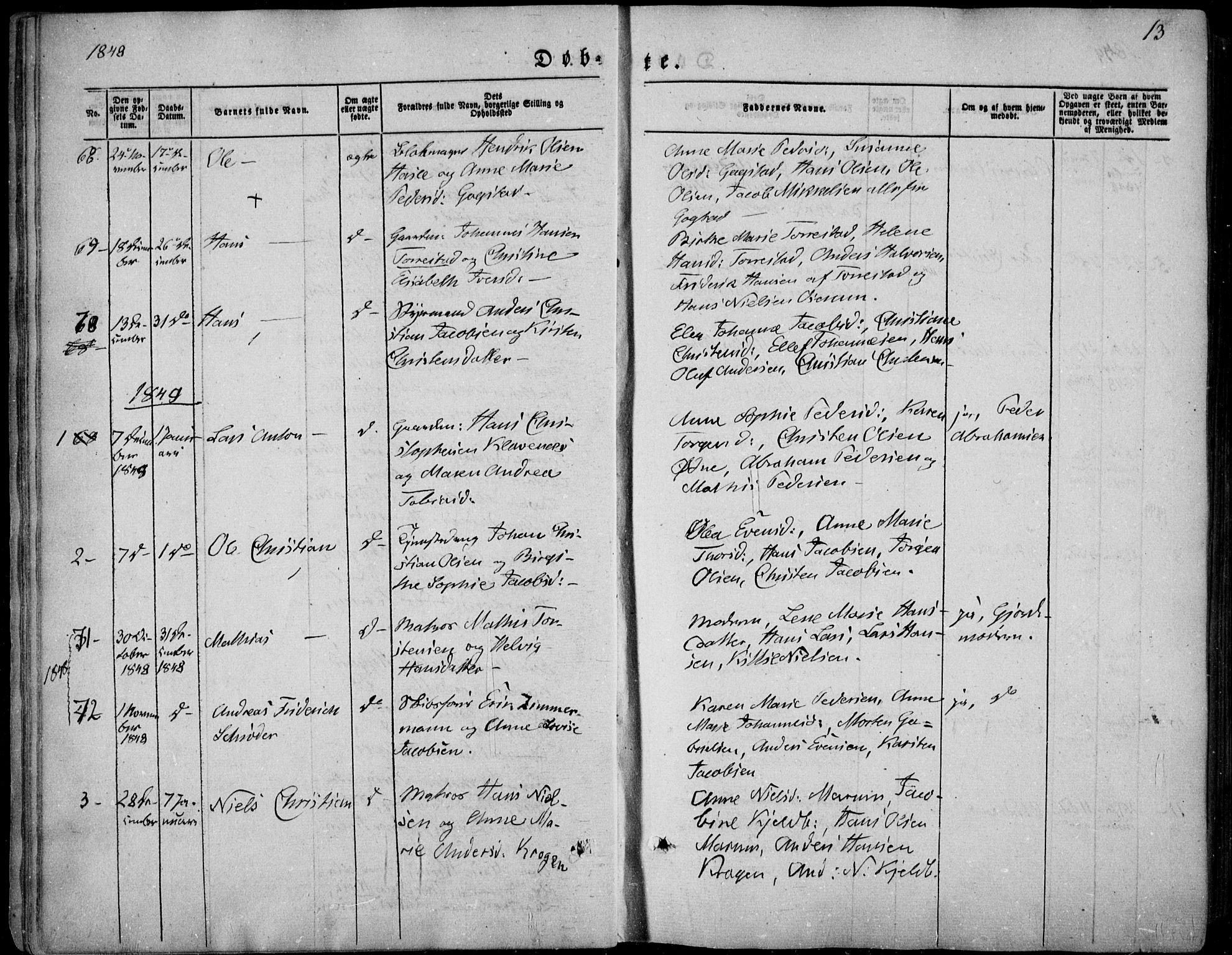 SAKO, Sandar kirkebøker, F/Fa/L0006: Ministerialbok nr. 6, 1847-1860, s. 13