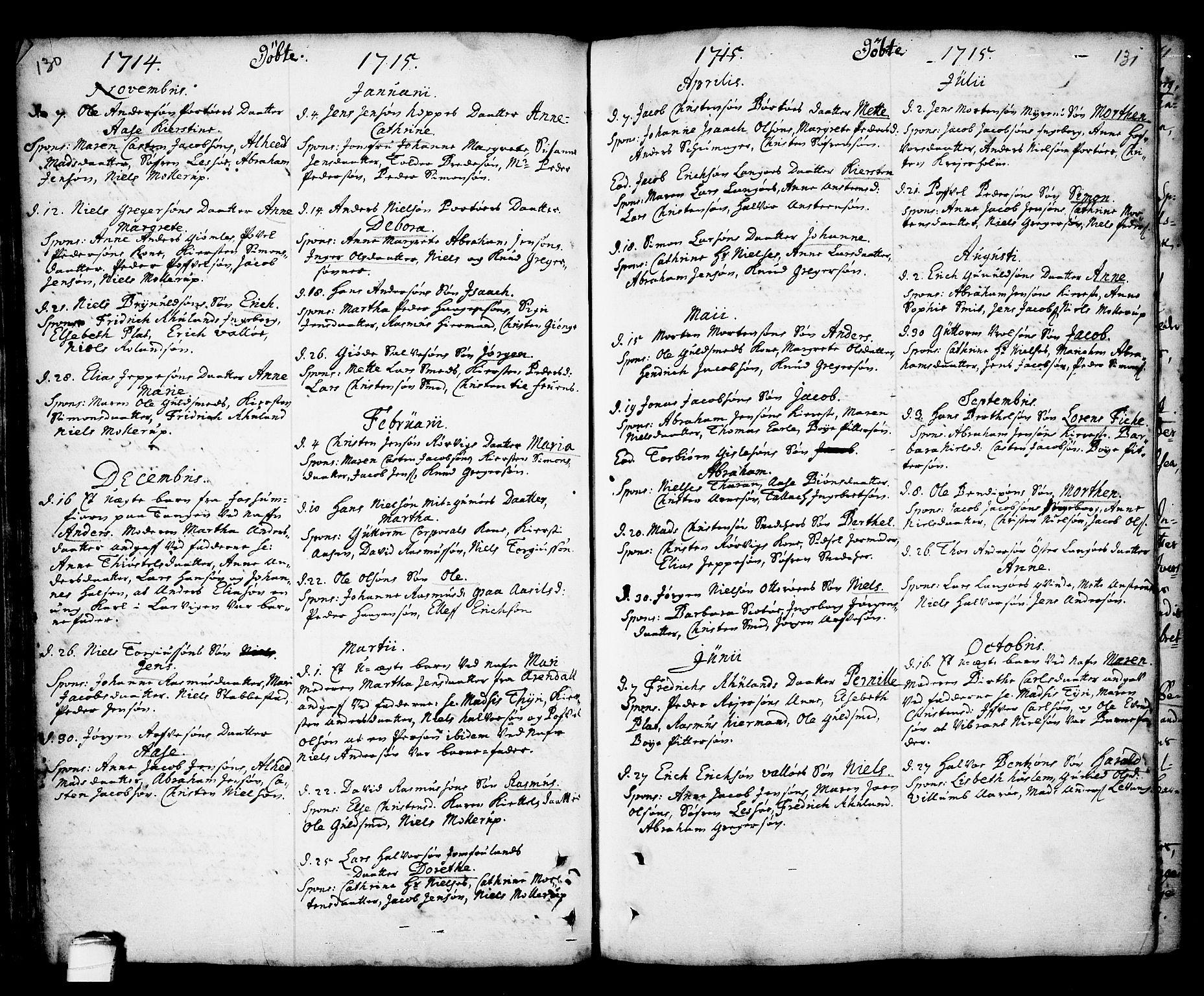 SAKO, Kragerø kirkebøker, F/Fa/L0001: Ministerialbok nr. 1, 1702-1766, s. 130-131