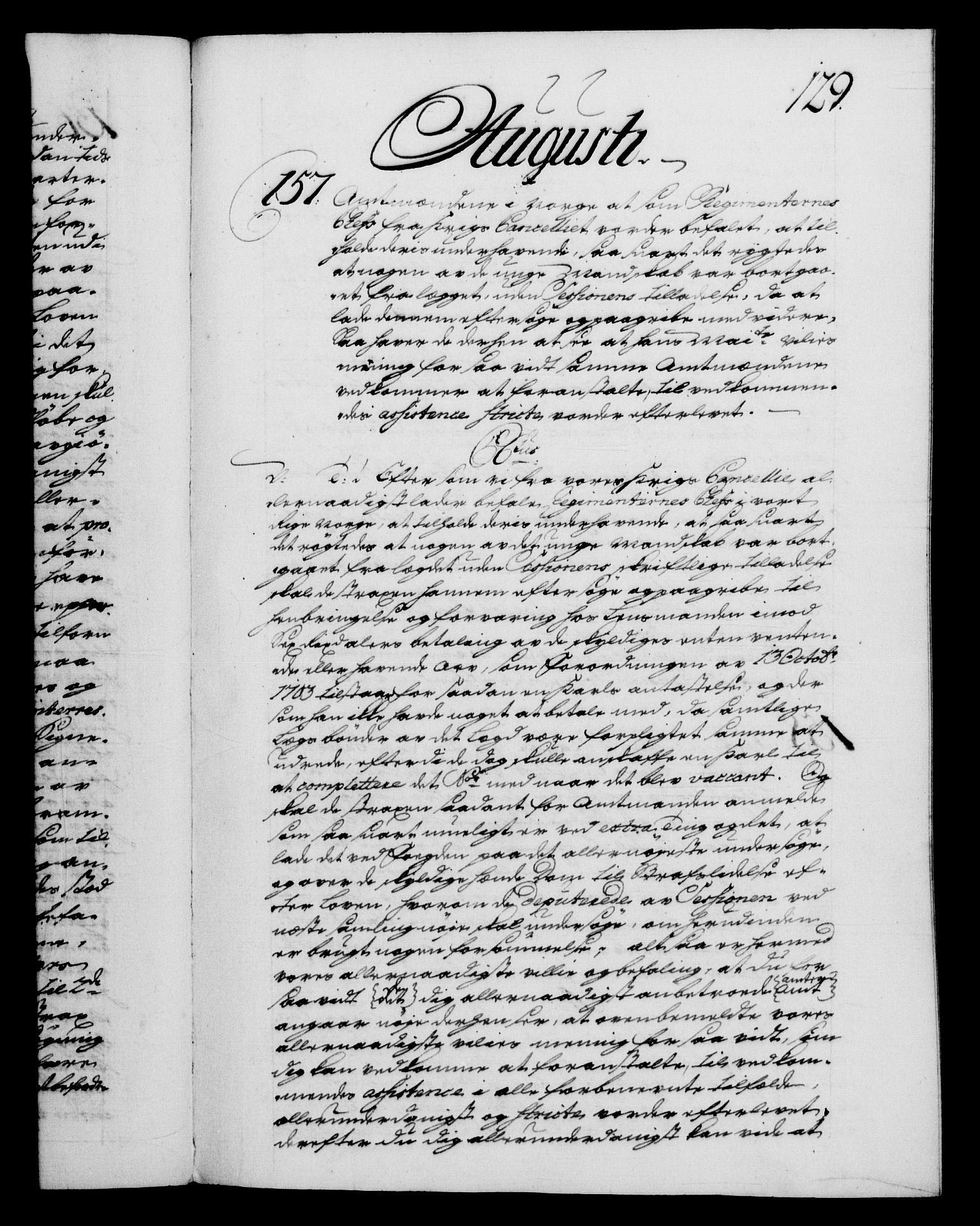 RA, Danske Kanselli 1572-1799, F/Fc/Fca/Fcab/L0028: Norske tegnelser, 1738-1740, s. 129a