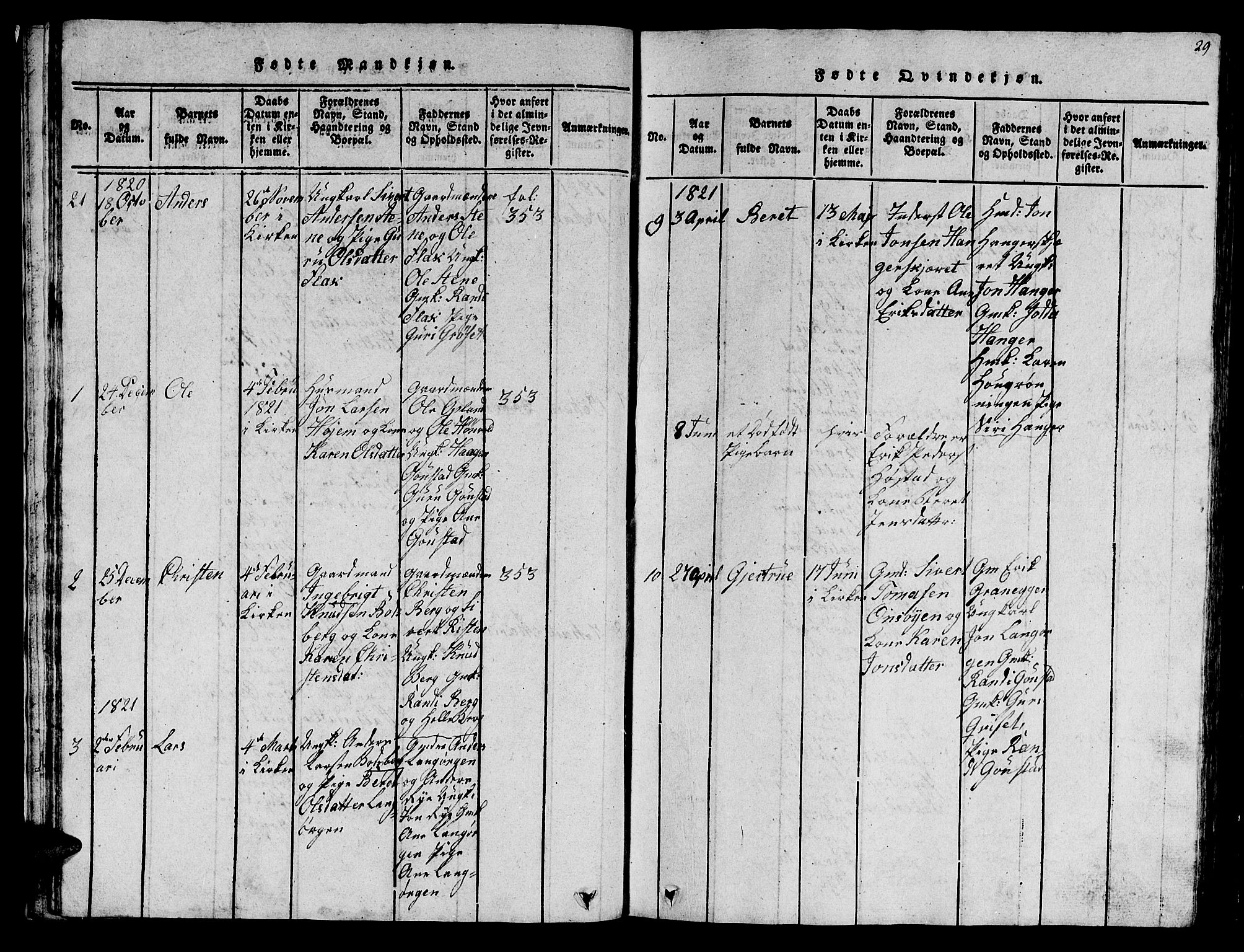 SAT, Ministerialprotokoller, klokkerbøker og fødselsregistre - Sør-Trøndelag, 612/L0385: Klokkerbok nr. 612C01, 1816-1845, s. 29