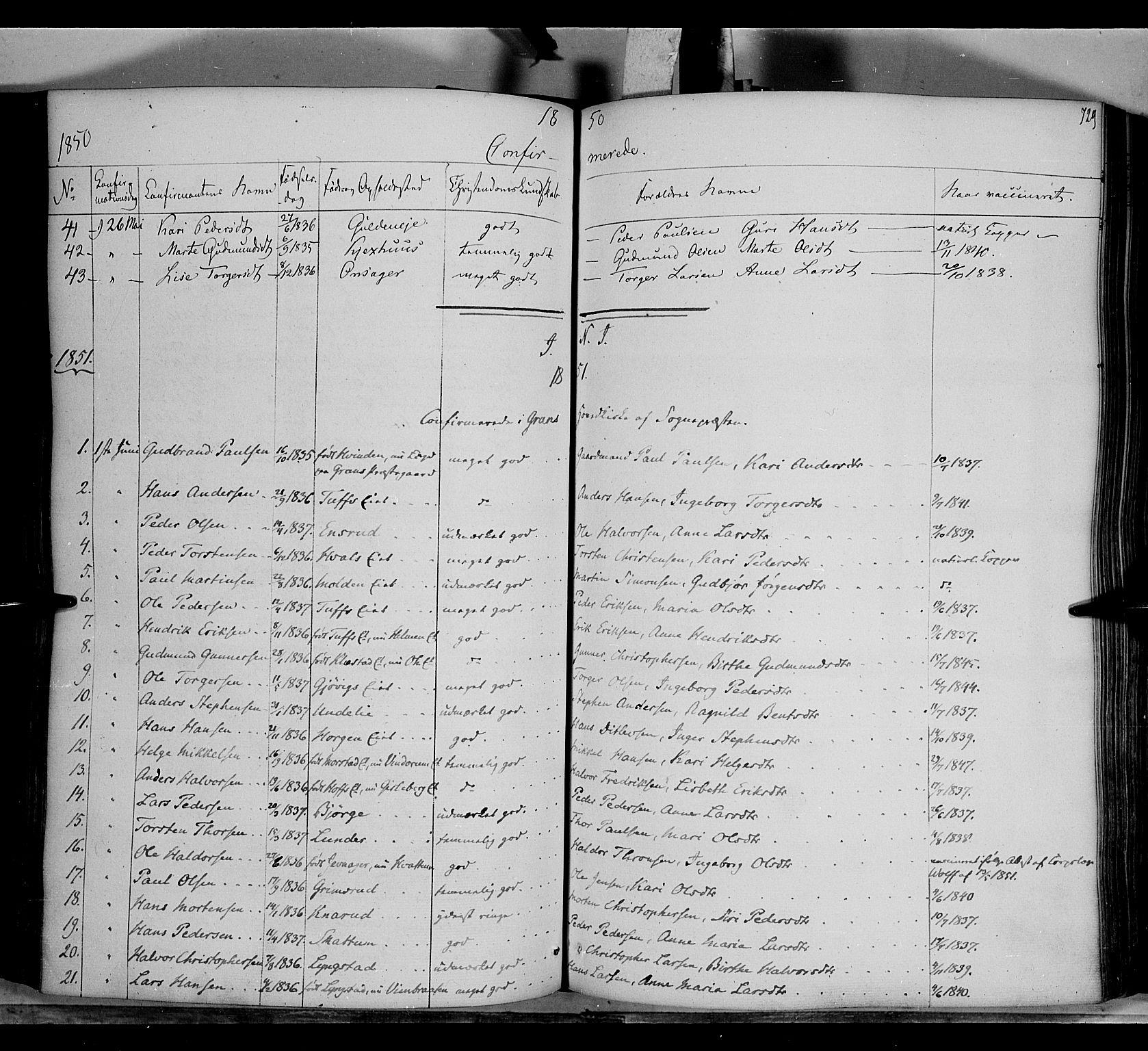 SAH, Gran prestekontor, Ministerialbok nr. 11, 1842-1856, s. 728-729