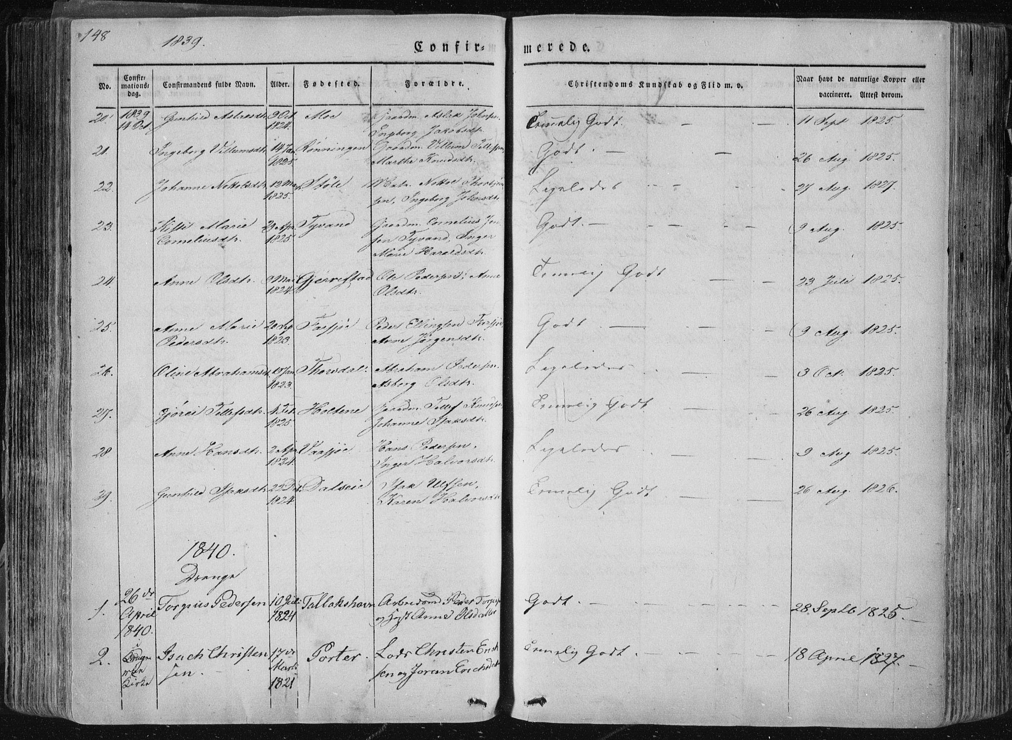 SAKO, Sannidal kirkebøker, F/Fa/L0007: Ministerialbok nr. 7, 1831-1854, s. 148