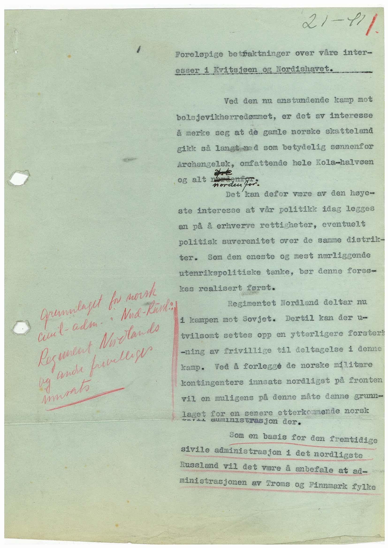 RA, Førerens og ministerpresidentens kanselli. Utenriksavdelingen, D/L0025, 1941-1942, s. 1