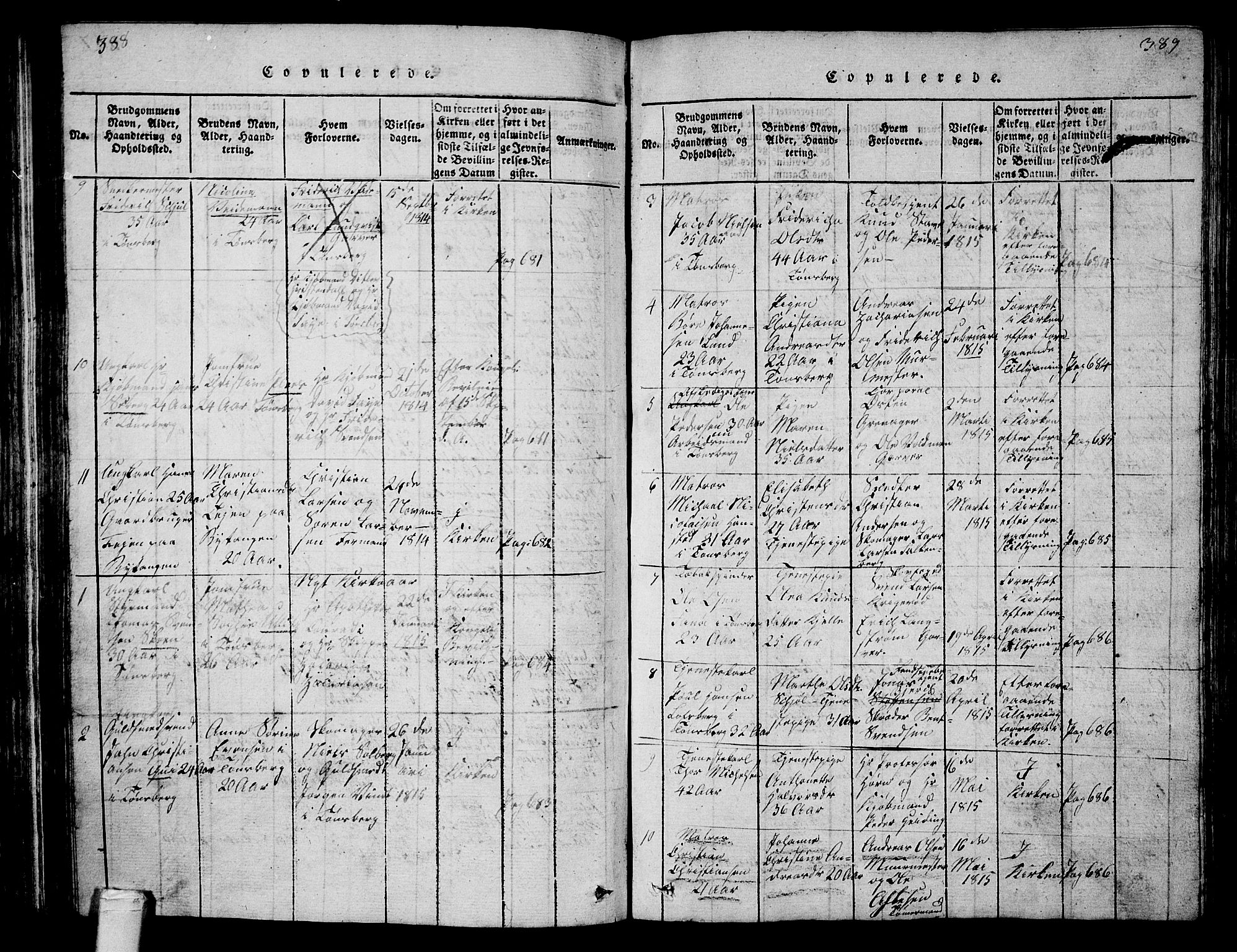 SAKO, Tønsberg kirkebøker, G/Ga/L0001: Klokkerbok nr. 1, 1813-1826, s. 388-389