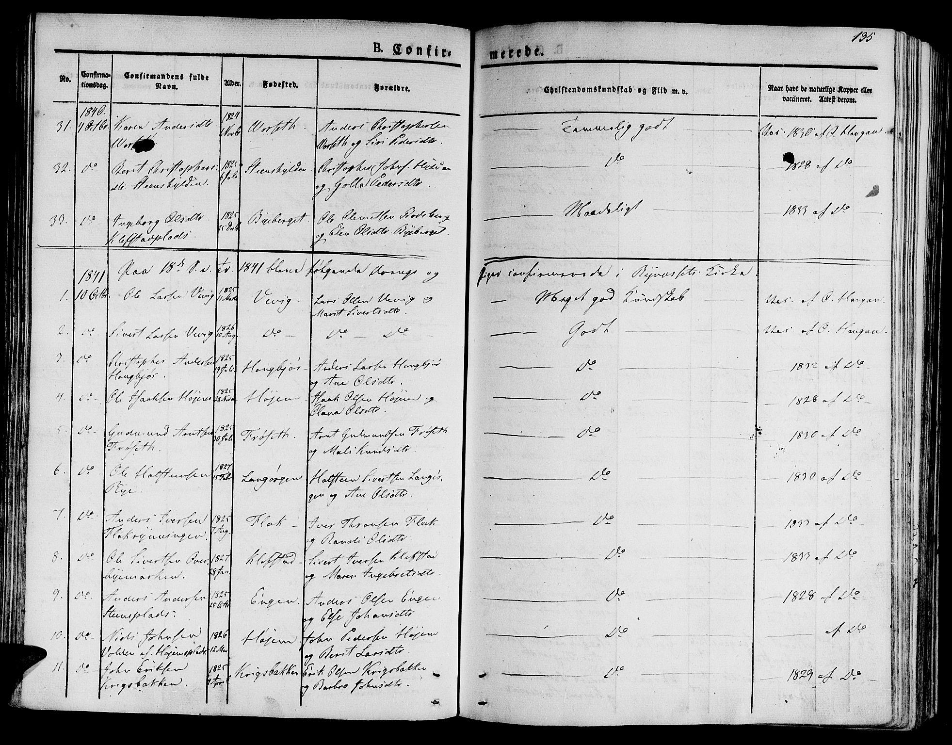 SAT, Ministerialprotokoller, klokkerbøker og fødselsregistre - Sør-Trøndelag, 612/L0374: Ministerialbok nr. 612A07 /1, 1829-1845, s. 135