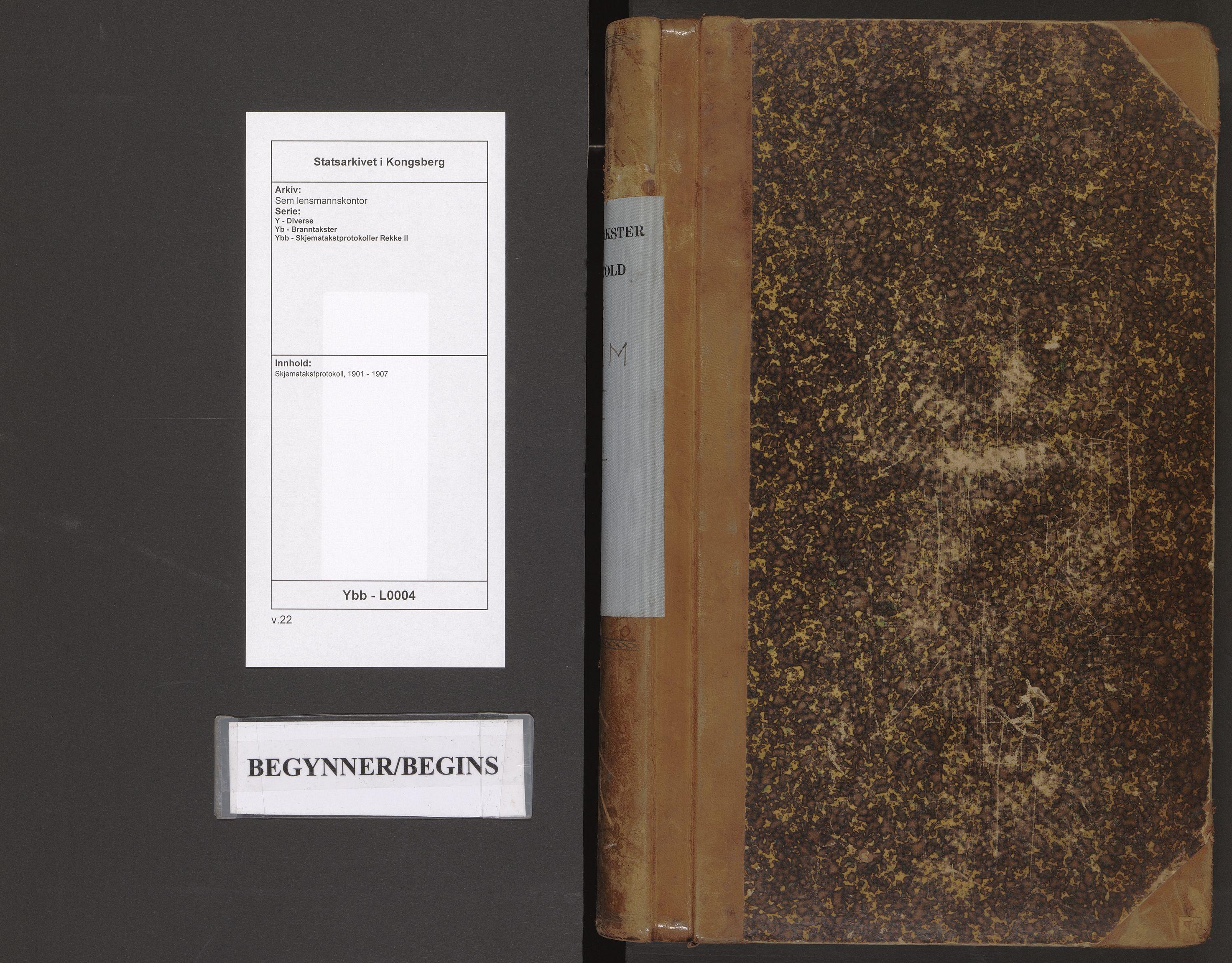 SAKO, Sem lensmannskontor, Y/Yb/Ybb/L0004: Skjematakstprotokoll, 1901-1907