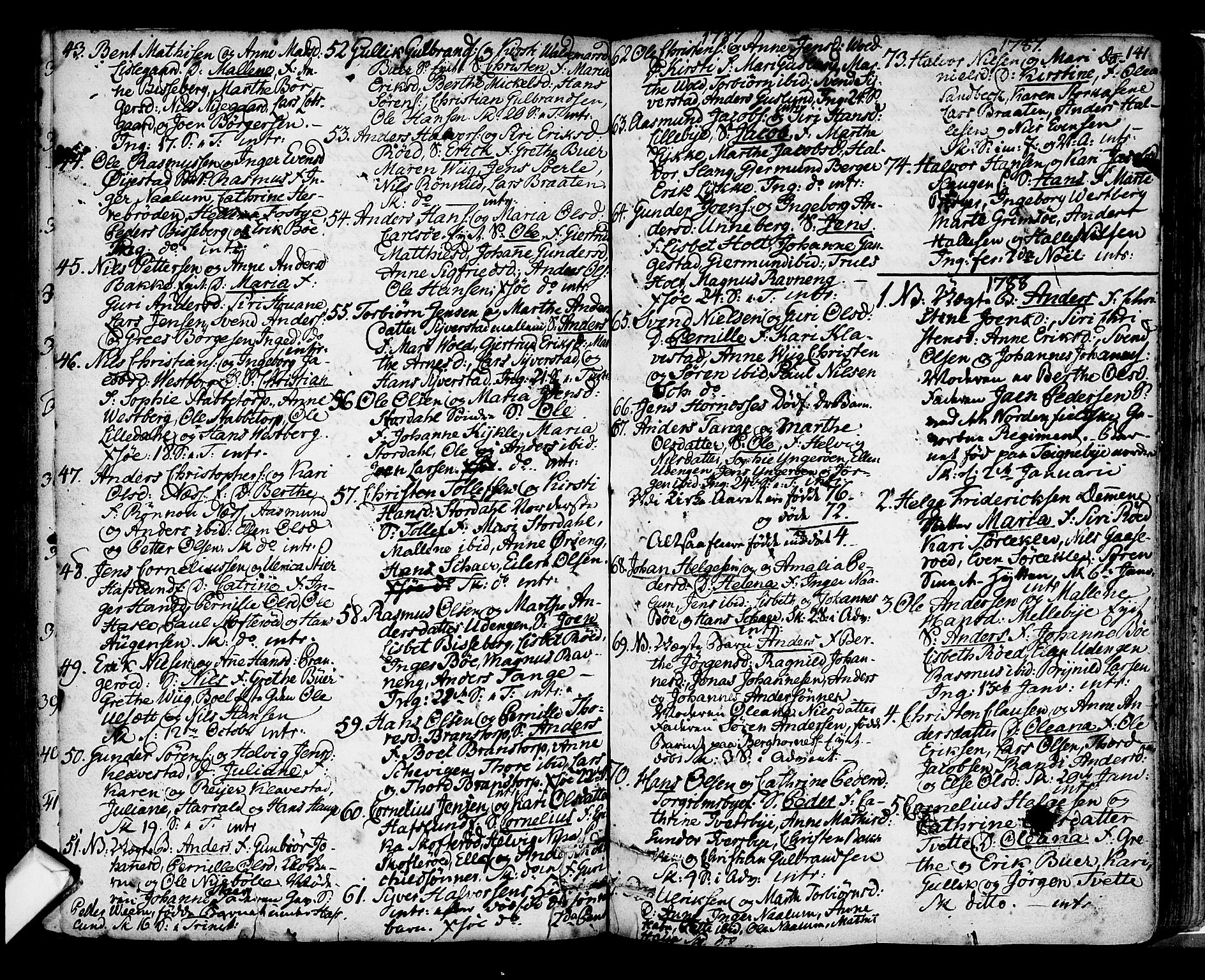 SAO, Skjeberg prestekontor Kirkebøker, F/Fa/L0002: Ministerialbok nr. I 2, 1726-1791, s. 141
