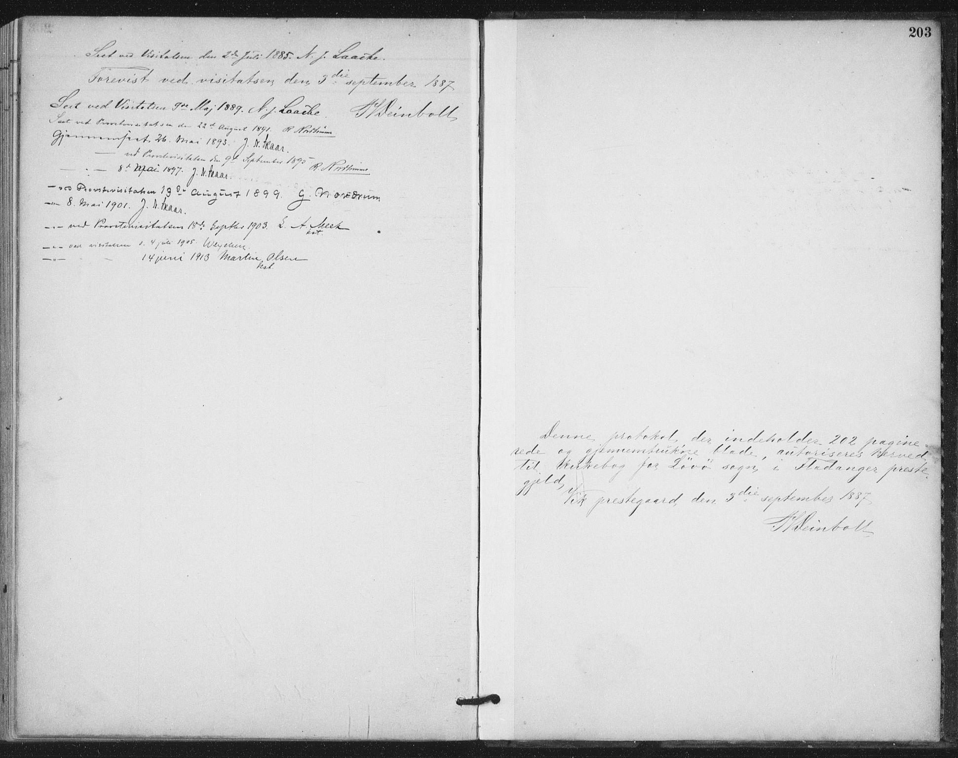 SAT, Ministerialprotokoller, klokkerbøker og fødselsregistre - Nord-Trøndelag, 772/L0603: Ministerialbok nr. 772A01, 1885-1912, s. 203