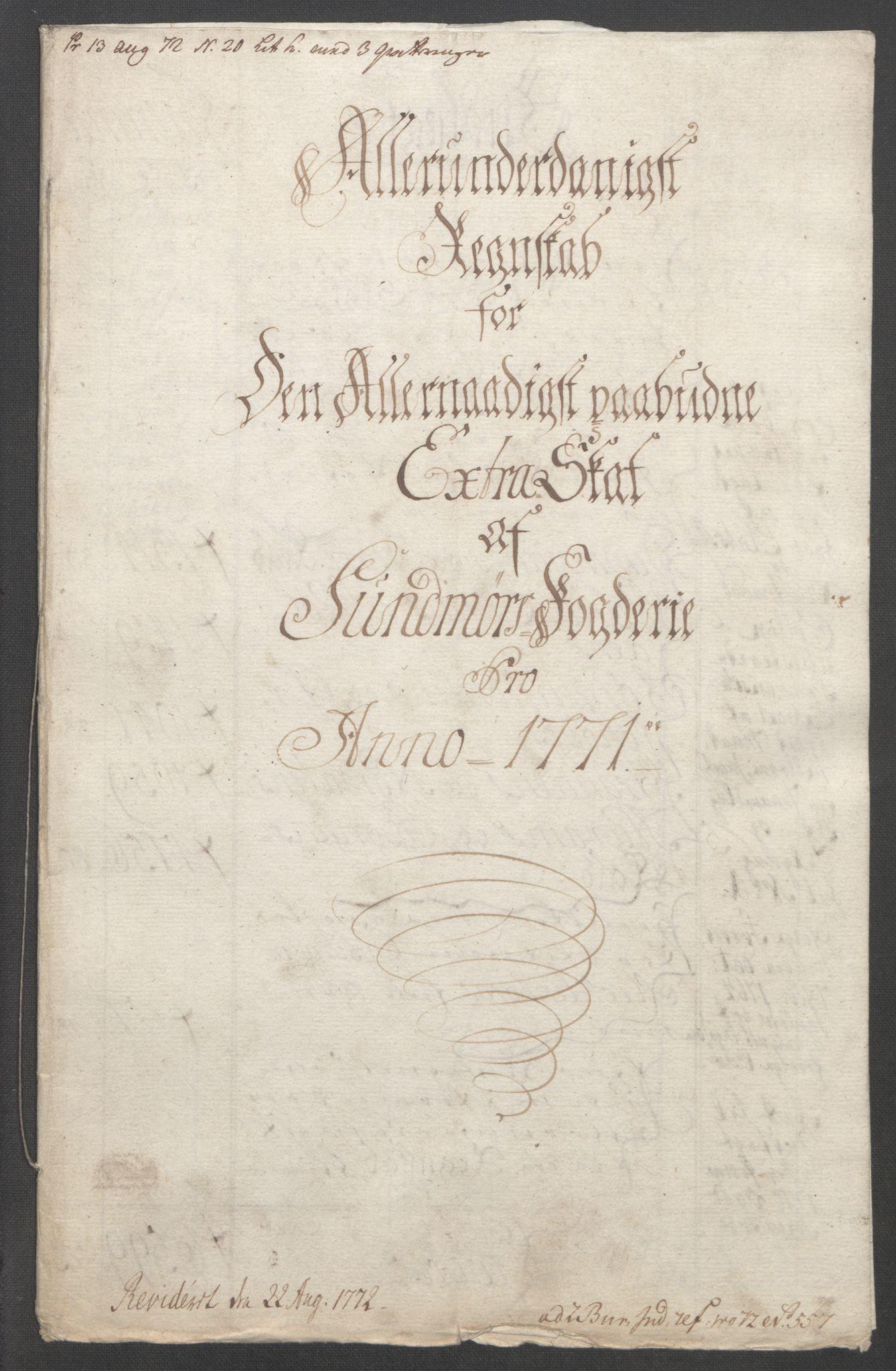 RA, Rentekammeret inntil 1814, Reviderte regnskaper, Fogderegnskap, R54/L3645: Ekstraskatten Sunnmøre, 1762-1772, s. 196