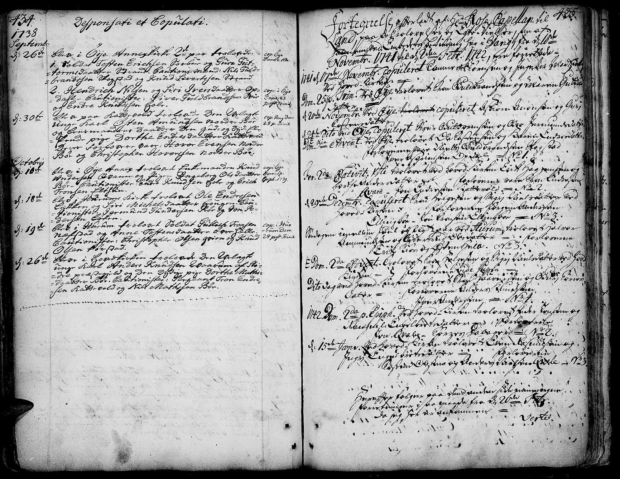 SAH, Vang prestekontor, Valdres, Ministerialbok nr. 1, 1730-1796, s. 434-435