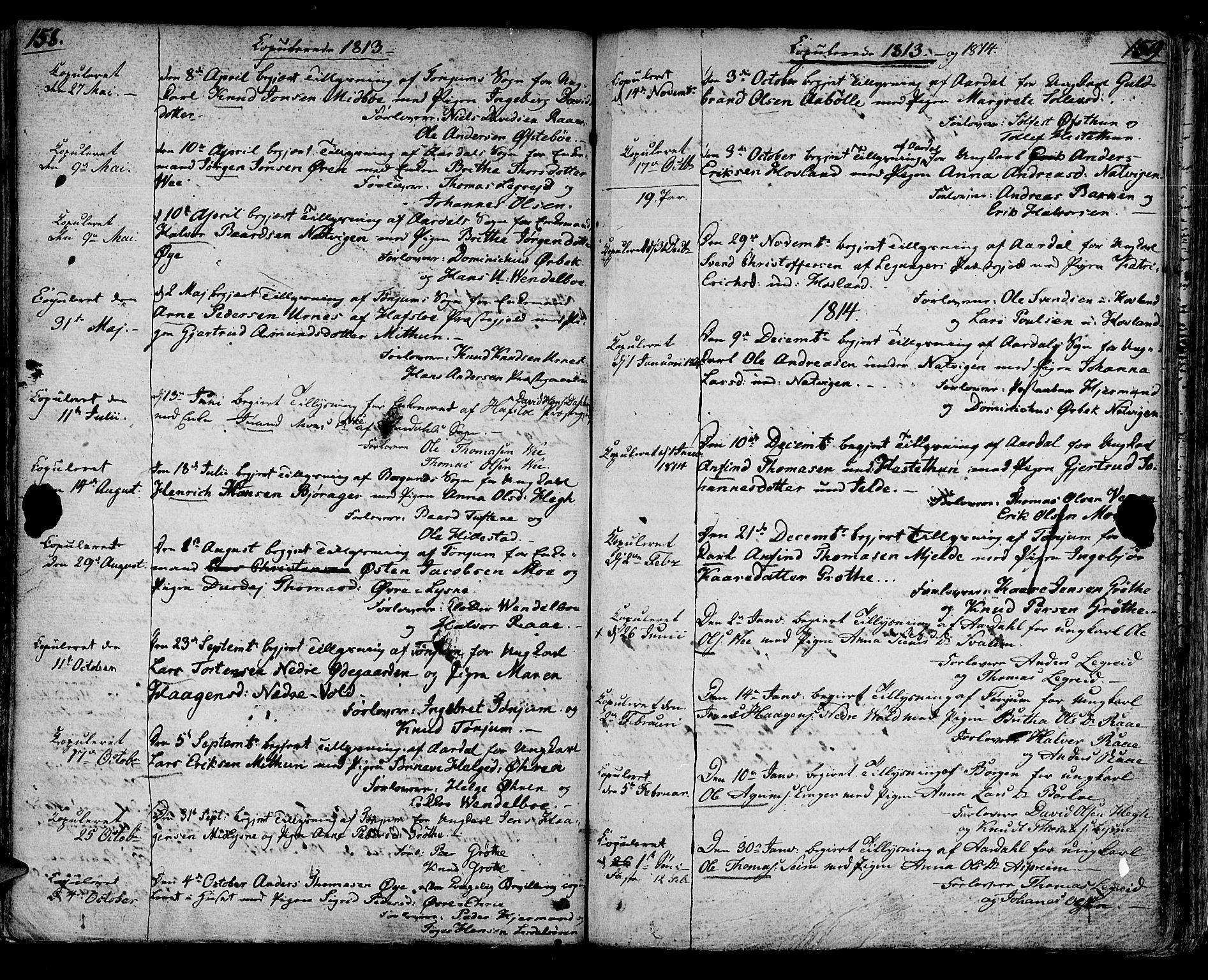 SAB, Lærdal sokneprestembete, Ministerialbok nr. A 4, 1805-1821, s. 158-159