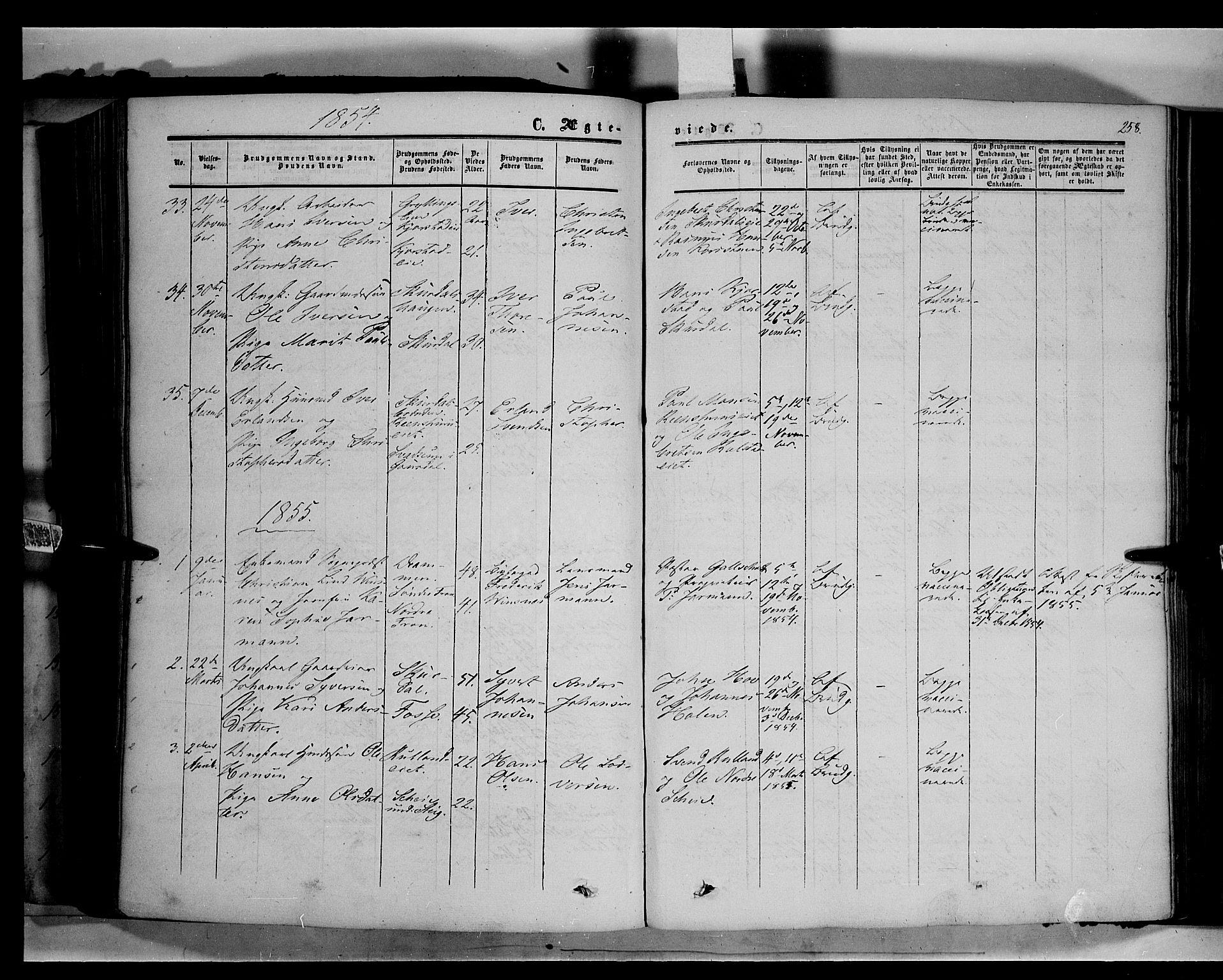 SAH, Sør-Fron prestekontor, H/Ha/Haa/L0001: Ministerialbok nr. 1, 1849-1863, s. 258