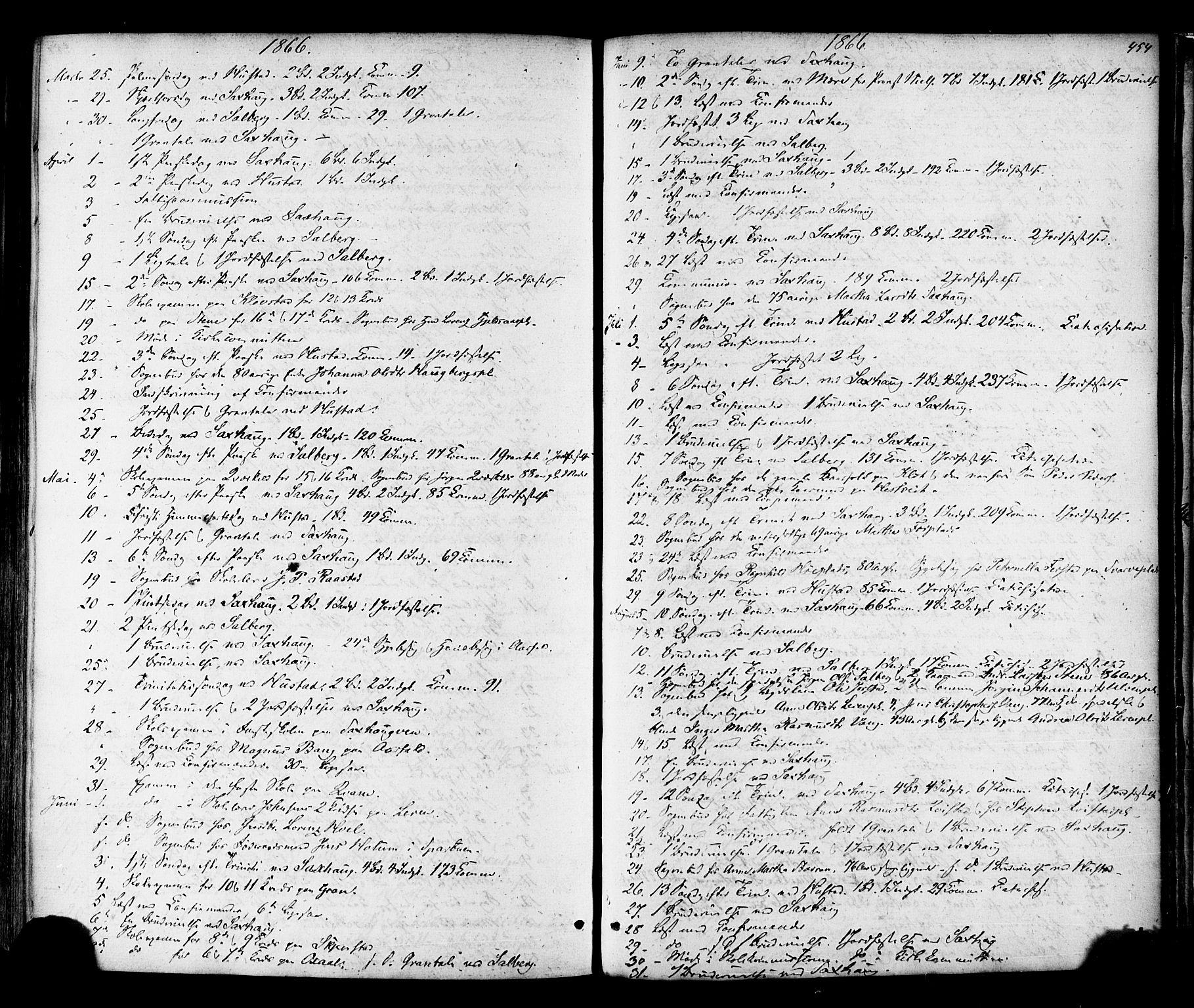 SAT, Ministerialprotokoller, klokkerbøker og fødselsregistre - Nord-Trøndelag, 730/L0284: Ministerialbok nr. 730A09, 1866-1878, s. 454