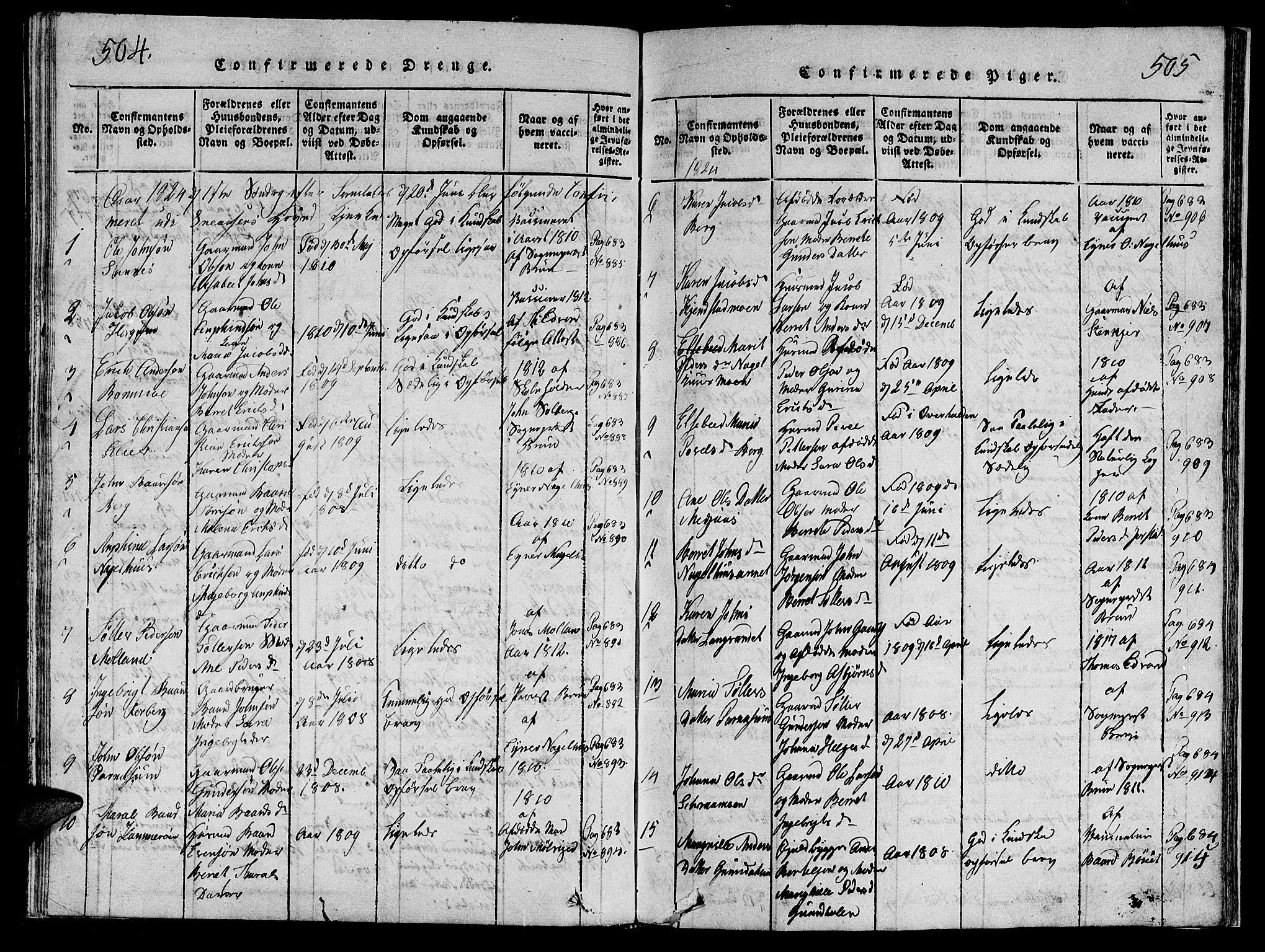 SAT, Ministerialprotokoller, klokkerbøker og fødselsregistre - Nord-Trøndelag, 749/L0479: Klokkerbok nr. 749C01, 1817-1829, s. 504-505