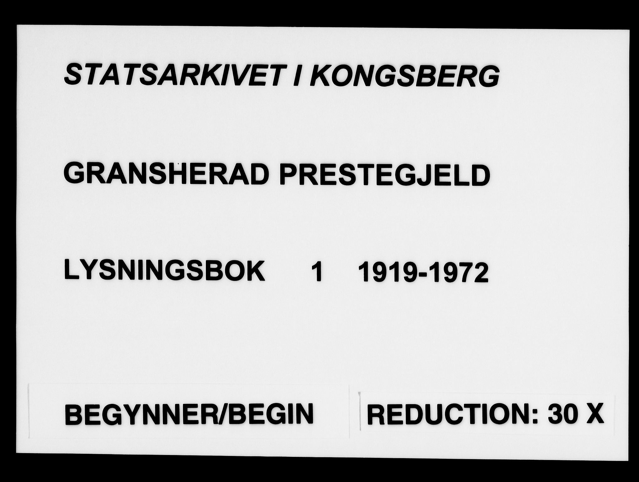 SAKO, Gransherad kirkebøker, H/Ha/L0001: Lysningsprotokoll nr. 1, 1919-1972