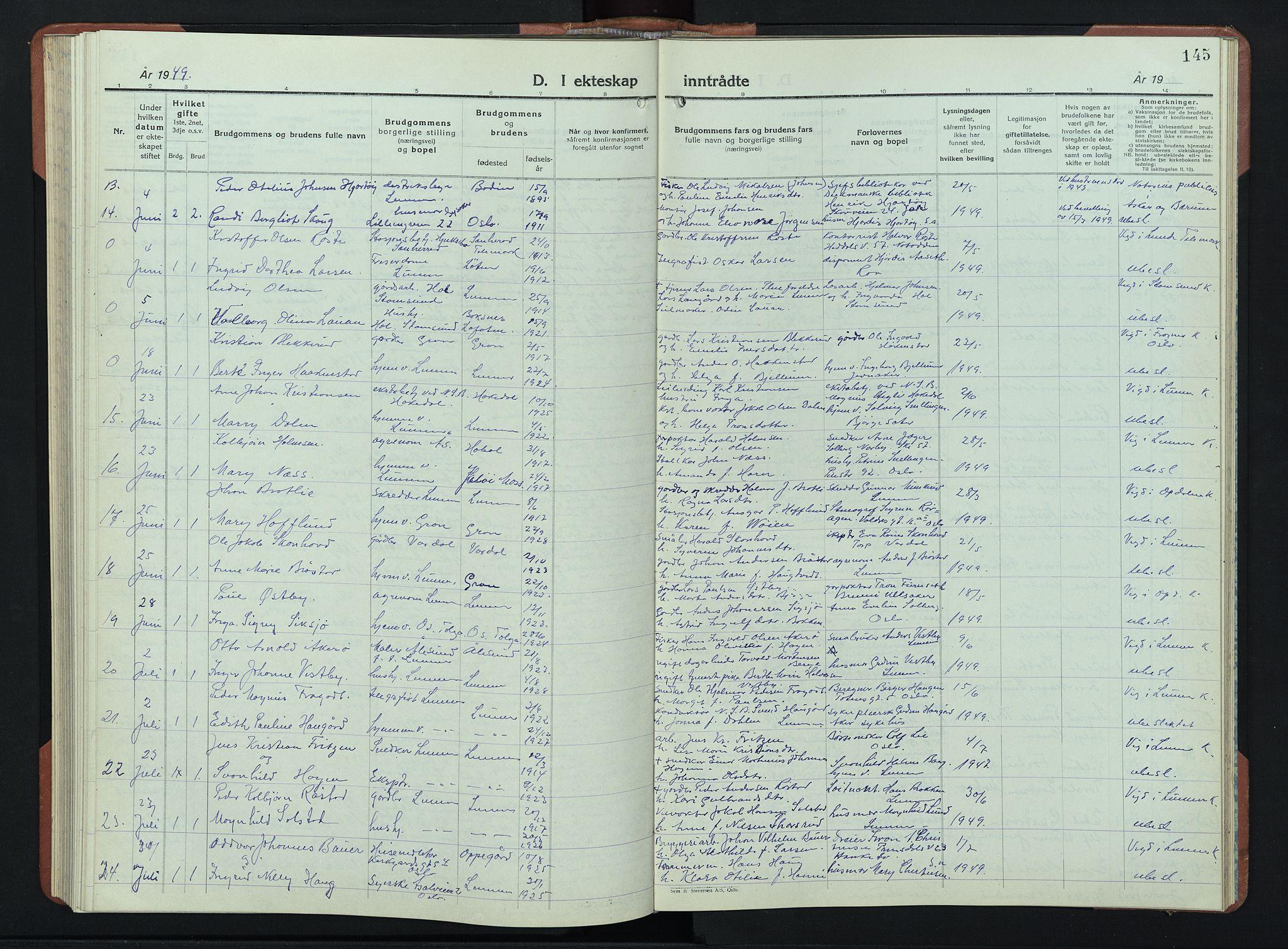 SAH, Lunner prestekontor, H/Ha/Hab/L0004: Klokkerbok nr. 4, 1943-1952, s. 145