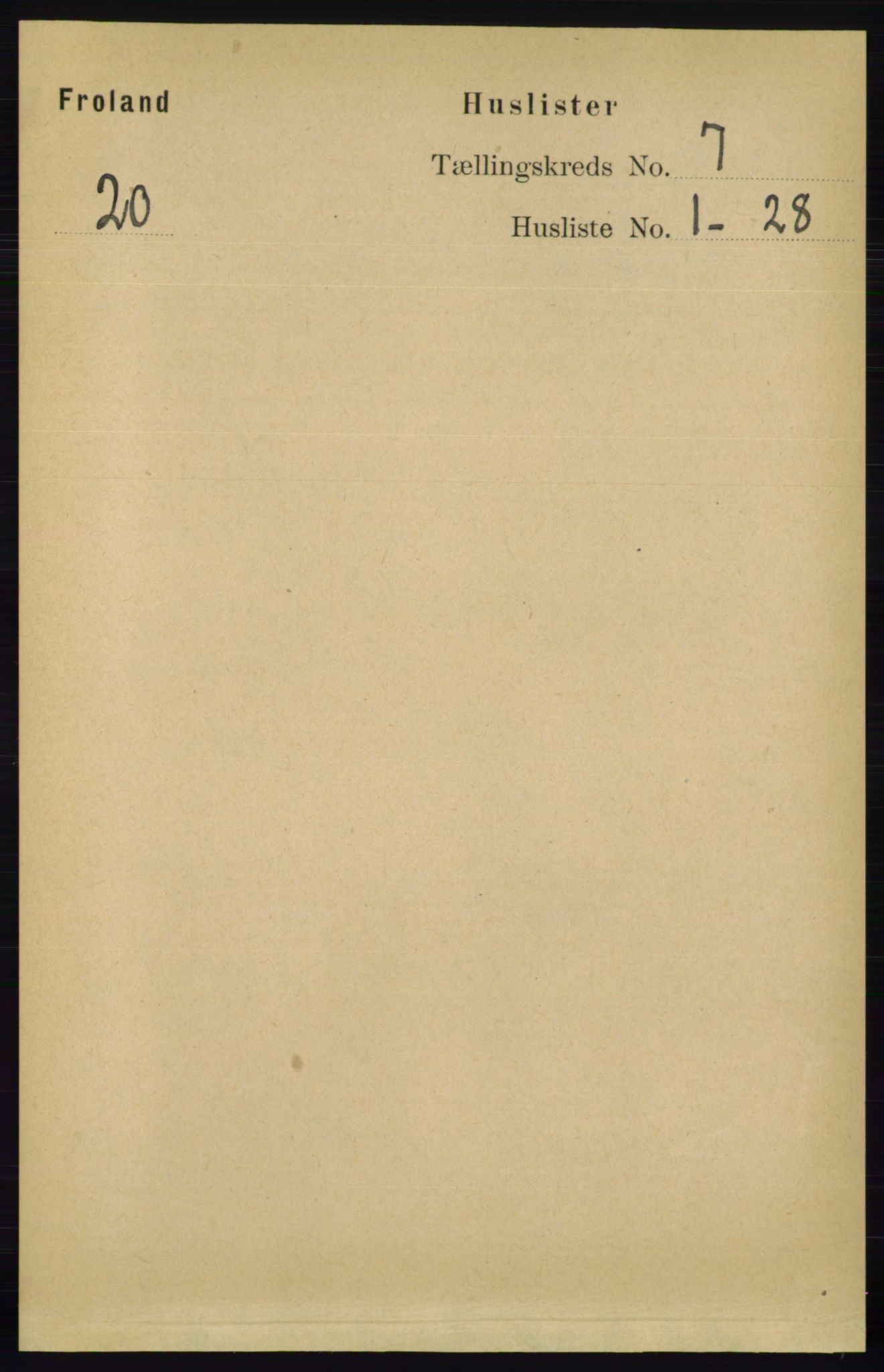 RA, Folketelling 1891 for 0919 Froland herred, 1891, s. 2624