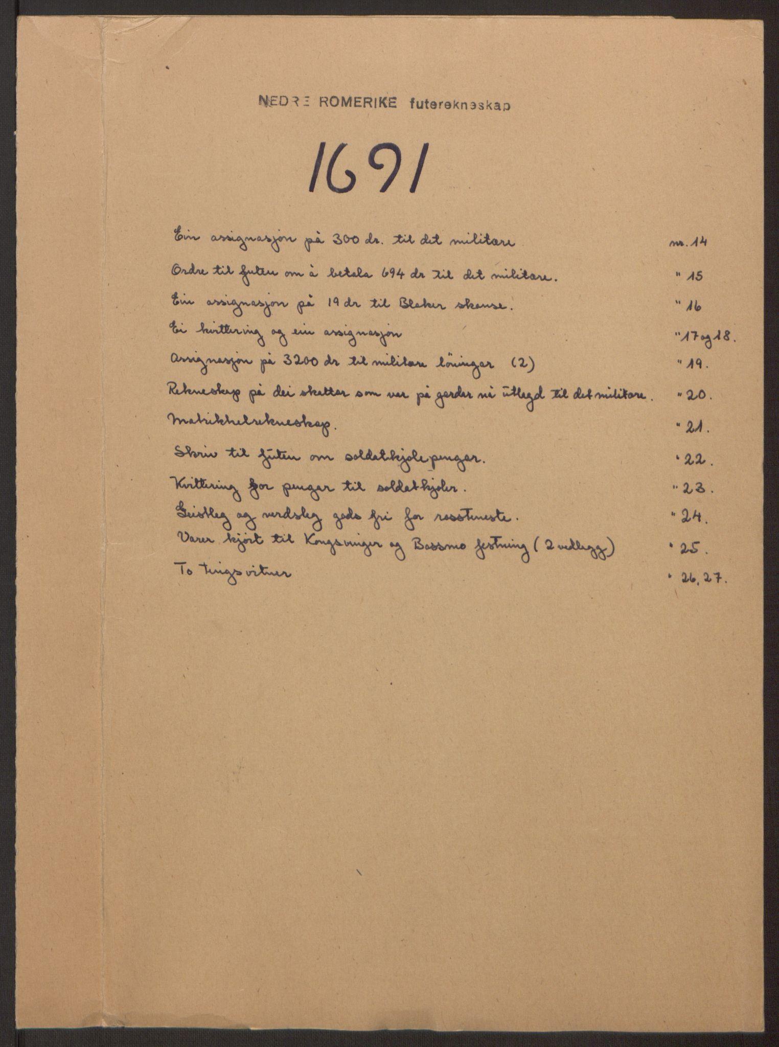 RA, Rentekammeret inntil 1814, Reviderte regnskaper, Fogderegnskap, R11/L0575: Fogderegnskap Nedre Romerike, 1691, s. 203