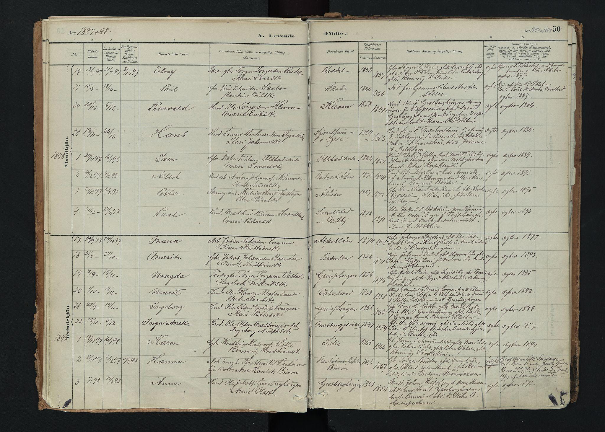 SAH, Nord-Fron prestekontor, Ministerialbok nr. 5, 1884-1914, s. 50