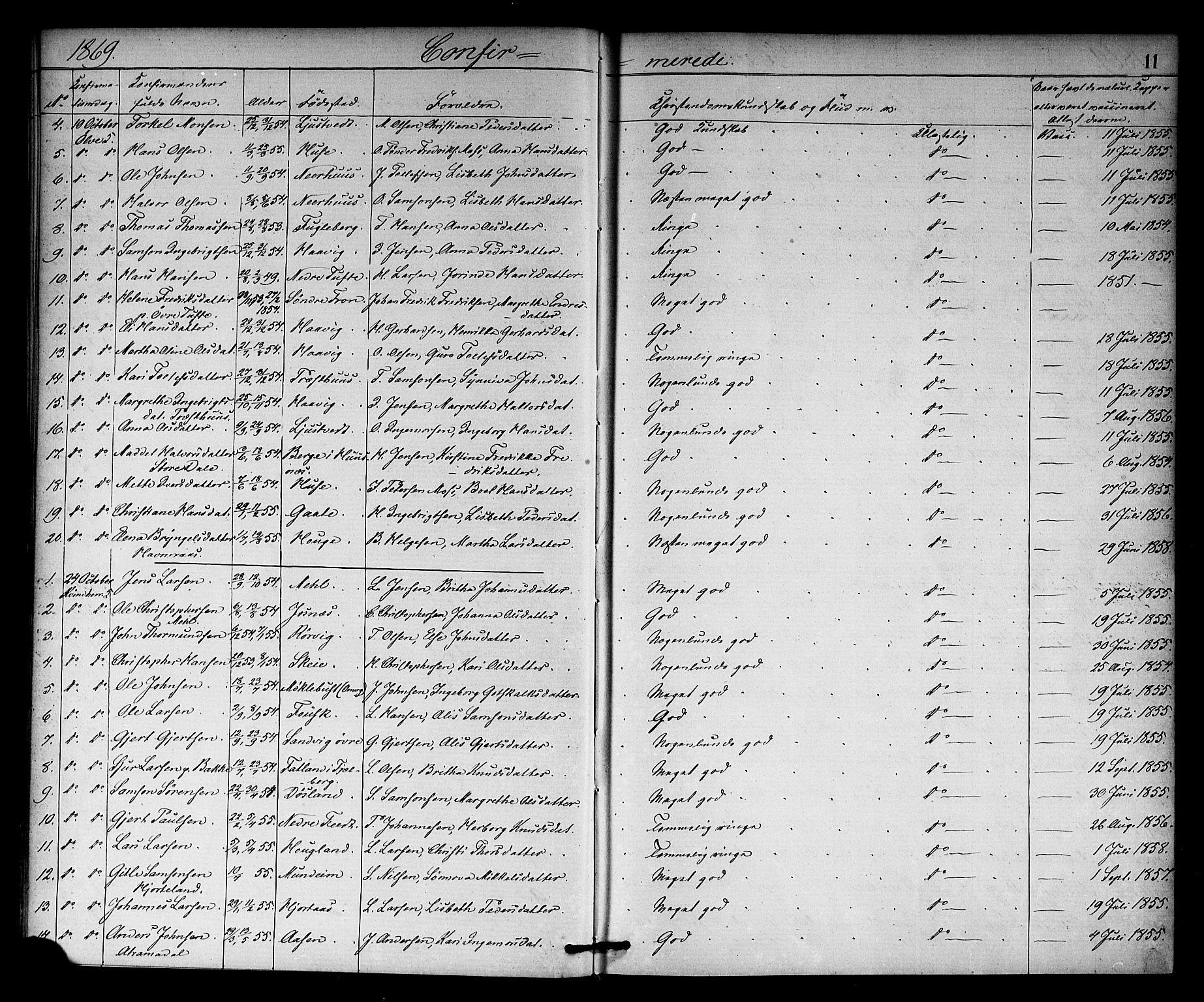 SAB, Kvinnherad Sokneprestembete, H/Haa: Ministerialbok nr. A 10, 1867-1886, s. 11