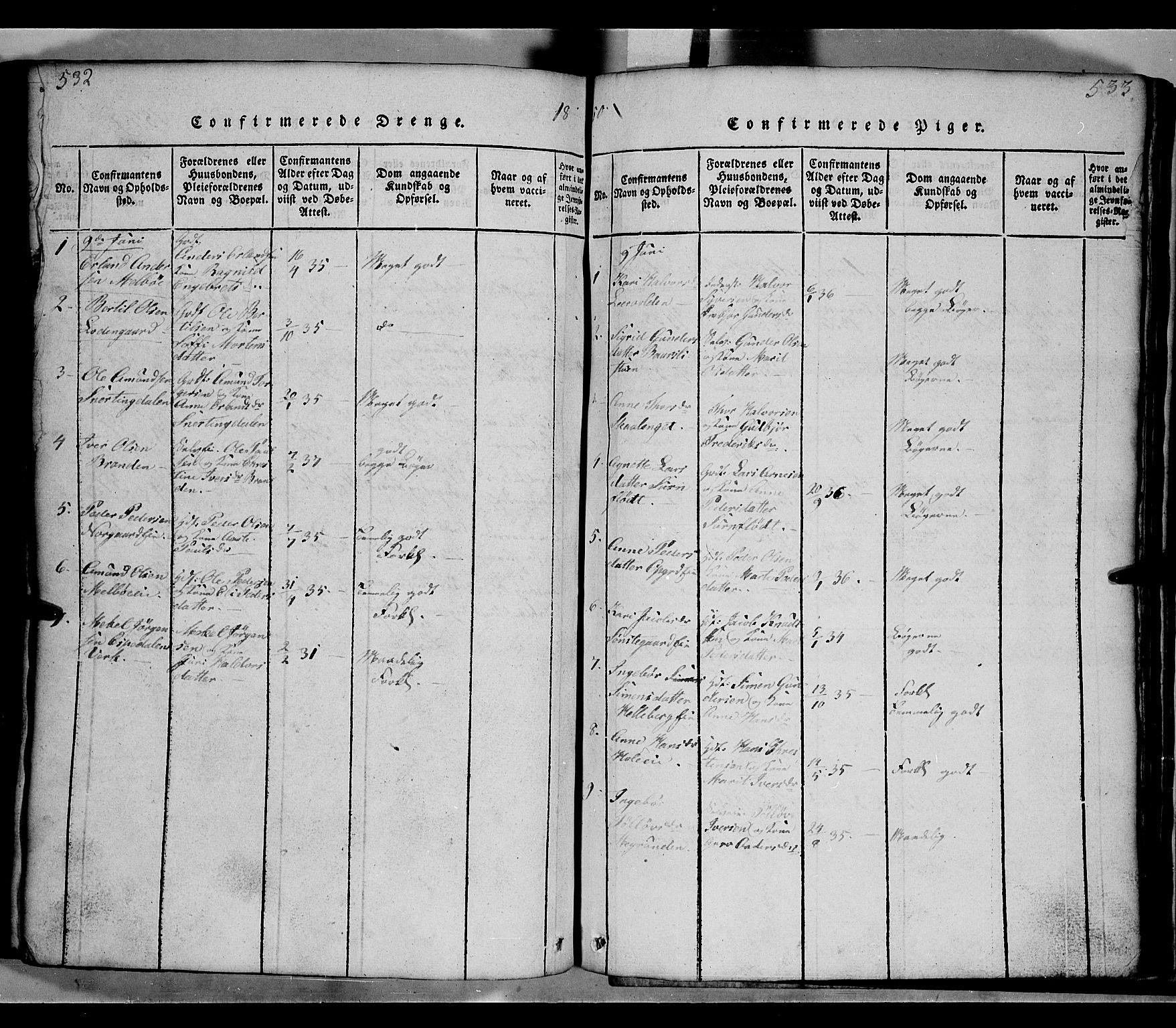 SAH, Gausdal prestekontor, Klokkerbok nr. 2, 1818-1874, s. 532-533