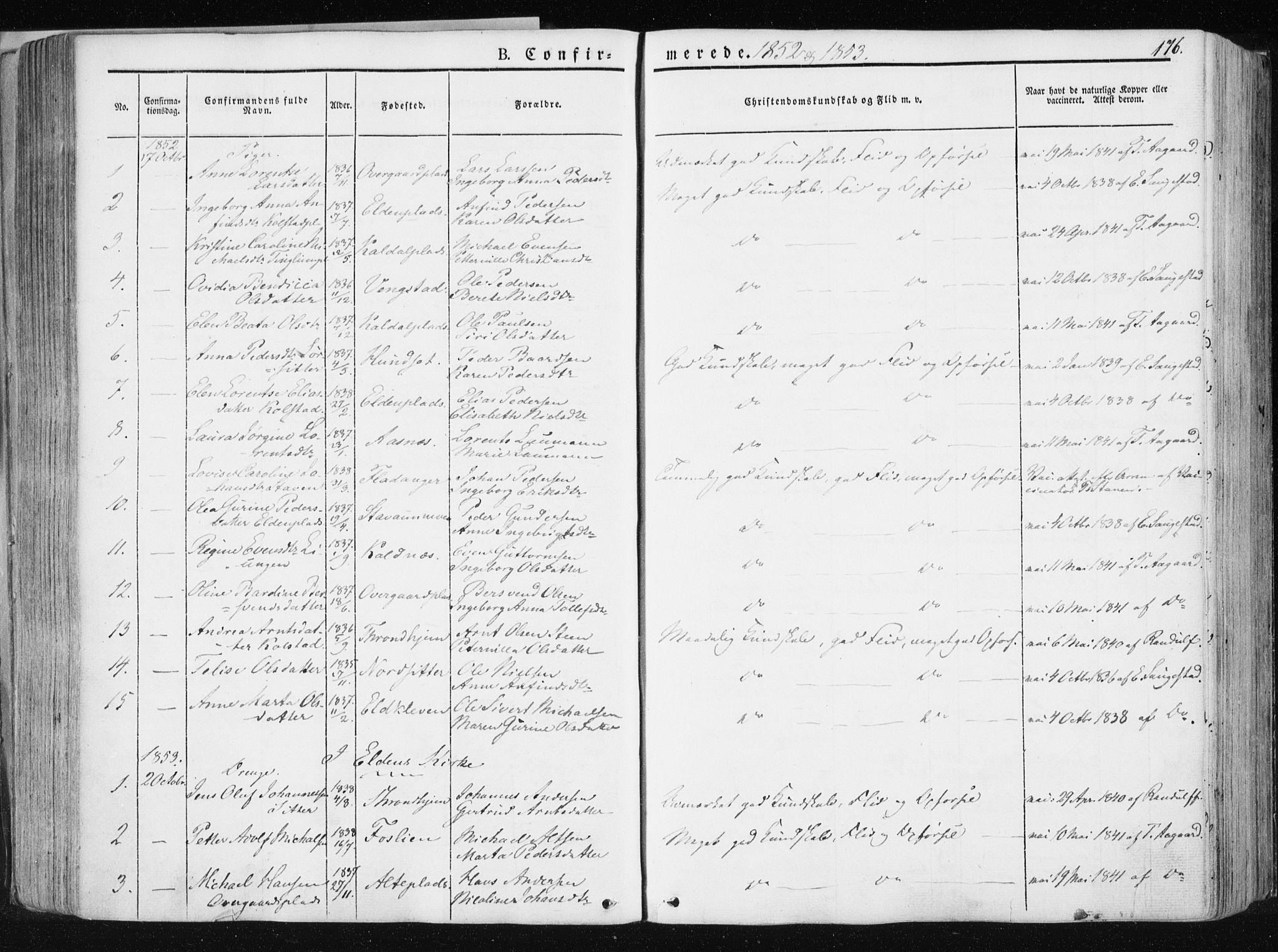 SAT, Ministerialprotokoller, klokkerbøker og fødselsregistre - Nord-Trøndelag, 741/L0393: Ministerialbok nr. 741A07, 1849-1863, s. 176