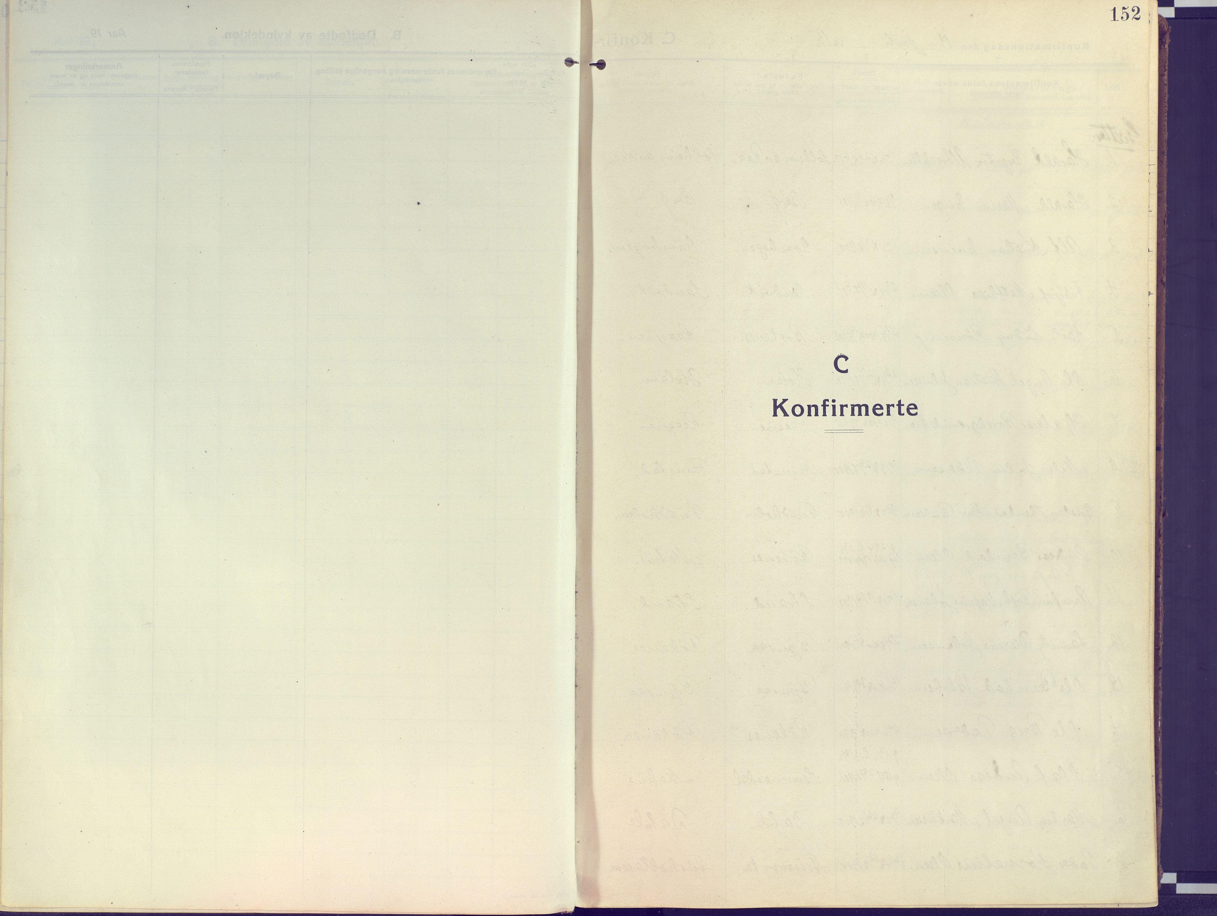 SATØ, Kvæfjord sokneprestkontor, G/Ga/Gaa/L0007kirke: Ministerialbok nr. 7, 1915-1931, s. 152