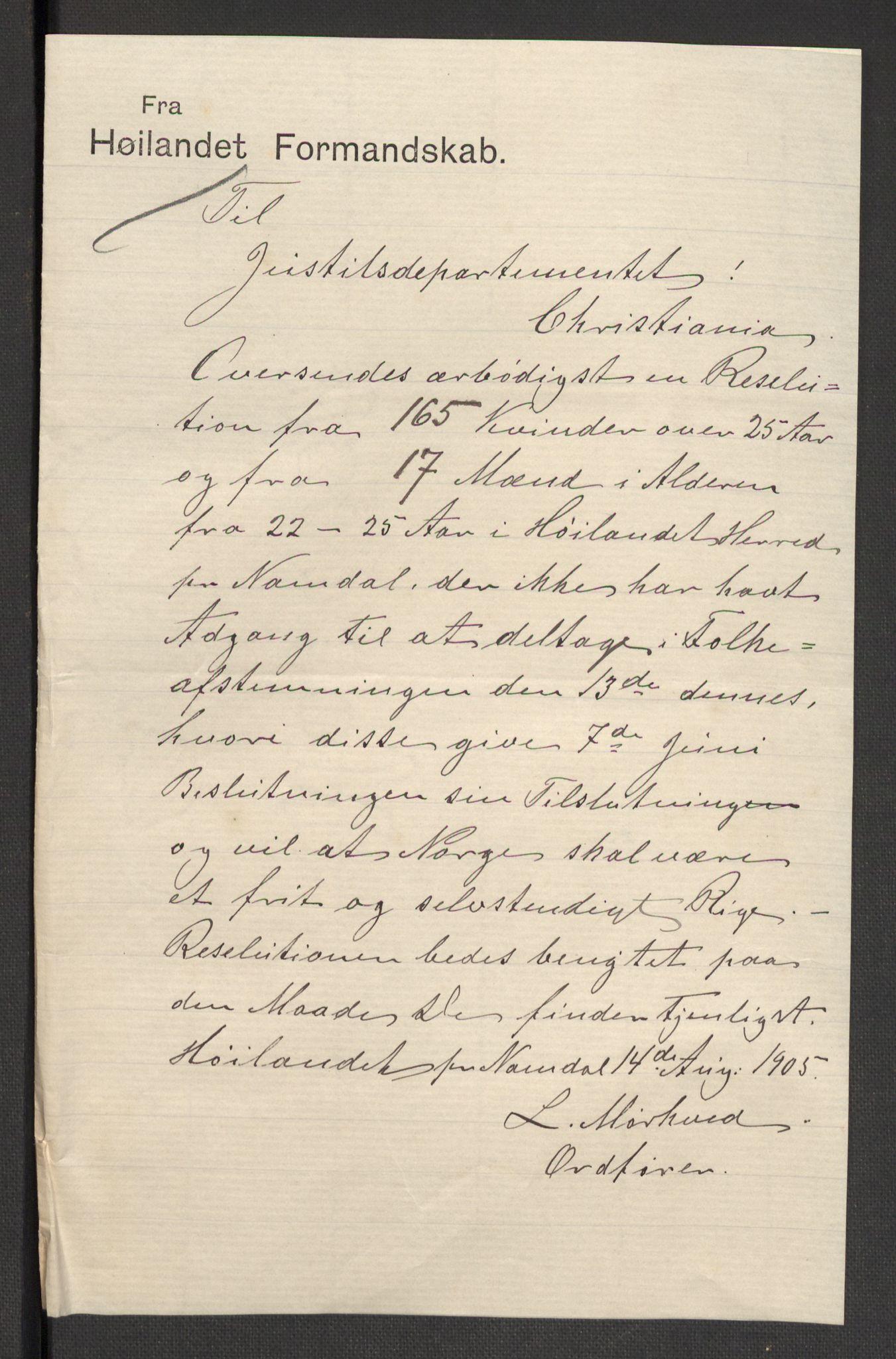 RA, Justisdepartementet, 2. sivilkontor C, F/L0125B: Folkeavstemmingen august 1905, 1905, s. 269