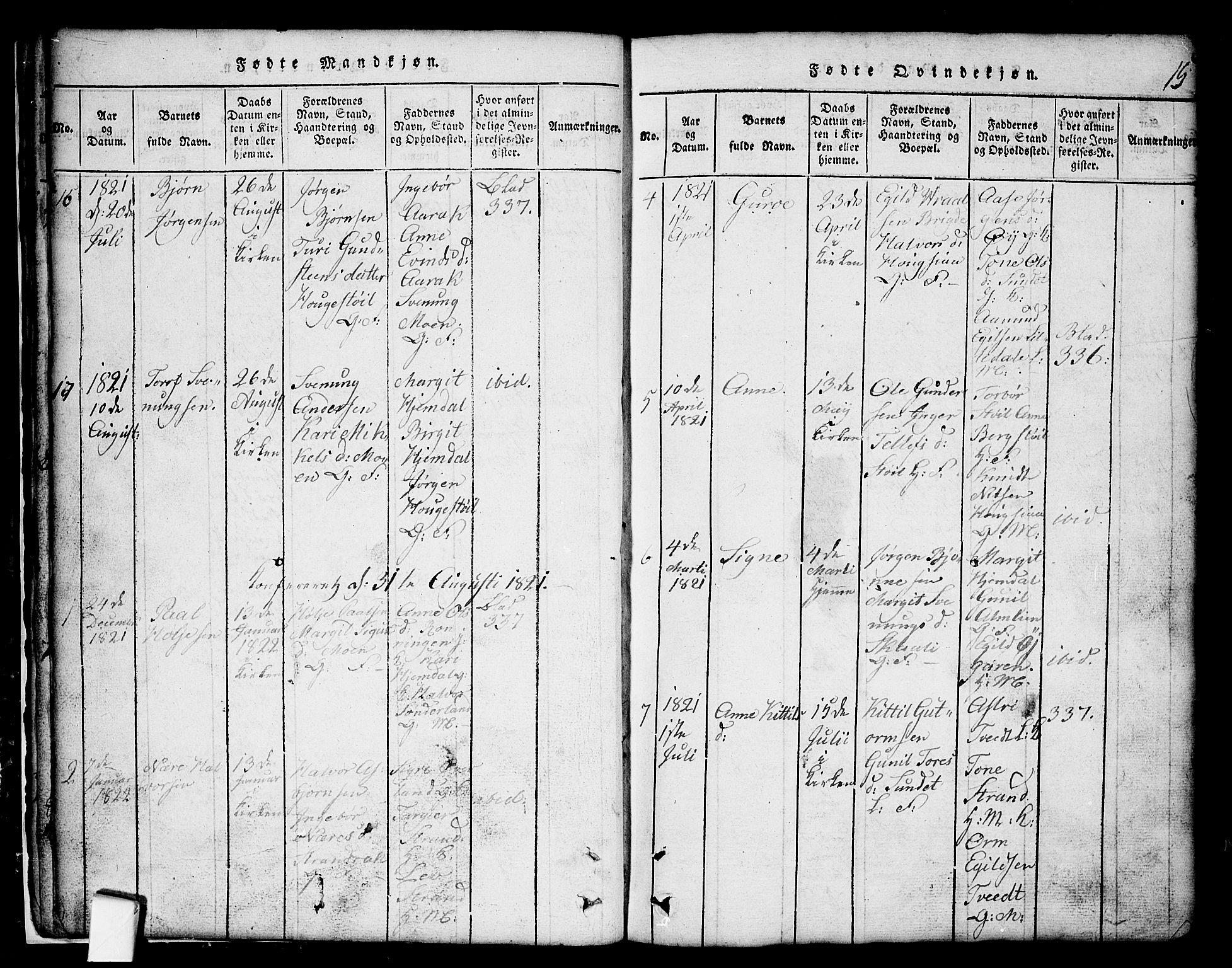 SAKO, Nissedal kirkebøker, G/Gb/L0001: Klokkerbok nr. II 1, 1814-1862, s. 15