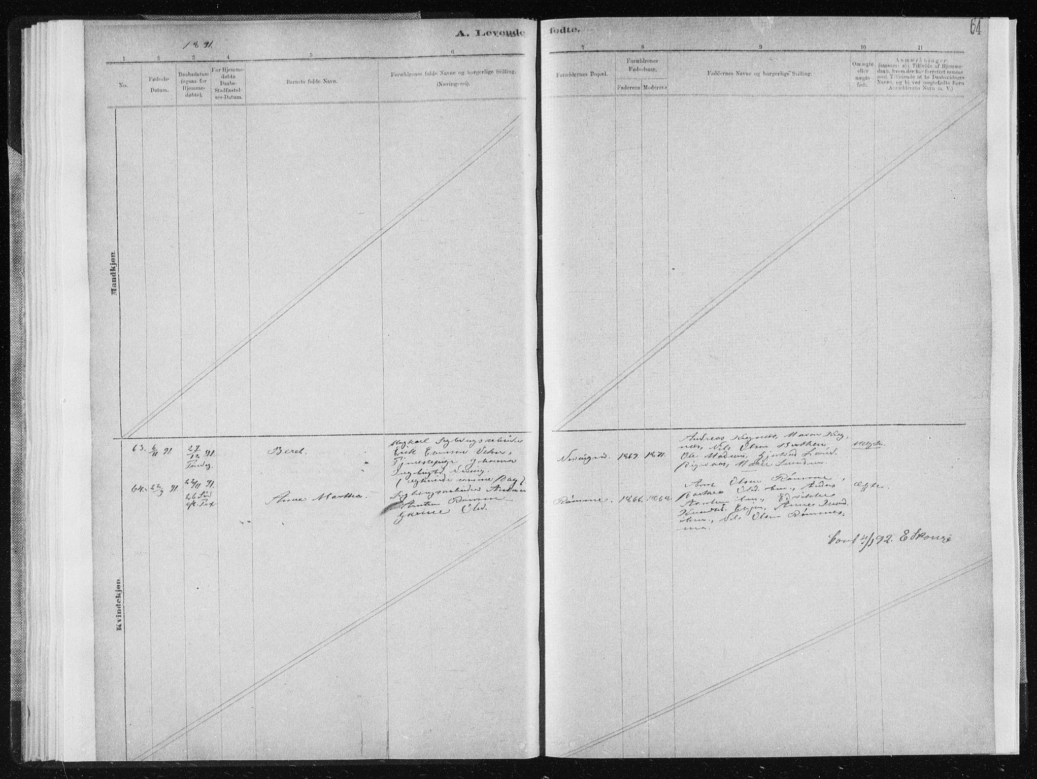 SAT, Ministerialprotokoller, klokkerbøker og fødselsregistre - Sør-Trøndelag, 668/L0818: Klokkerbok nr. 668C07, 1885-1898, s. 64