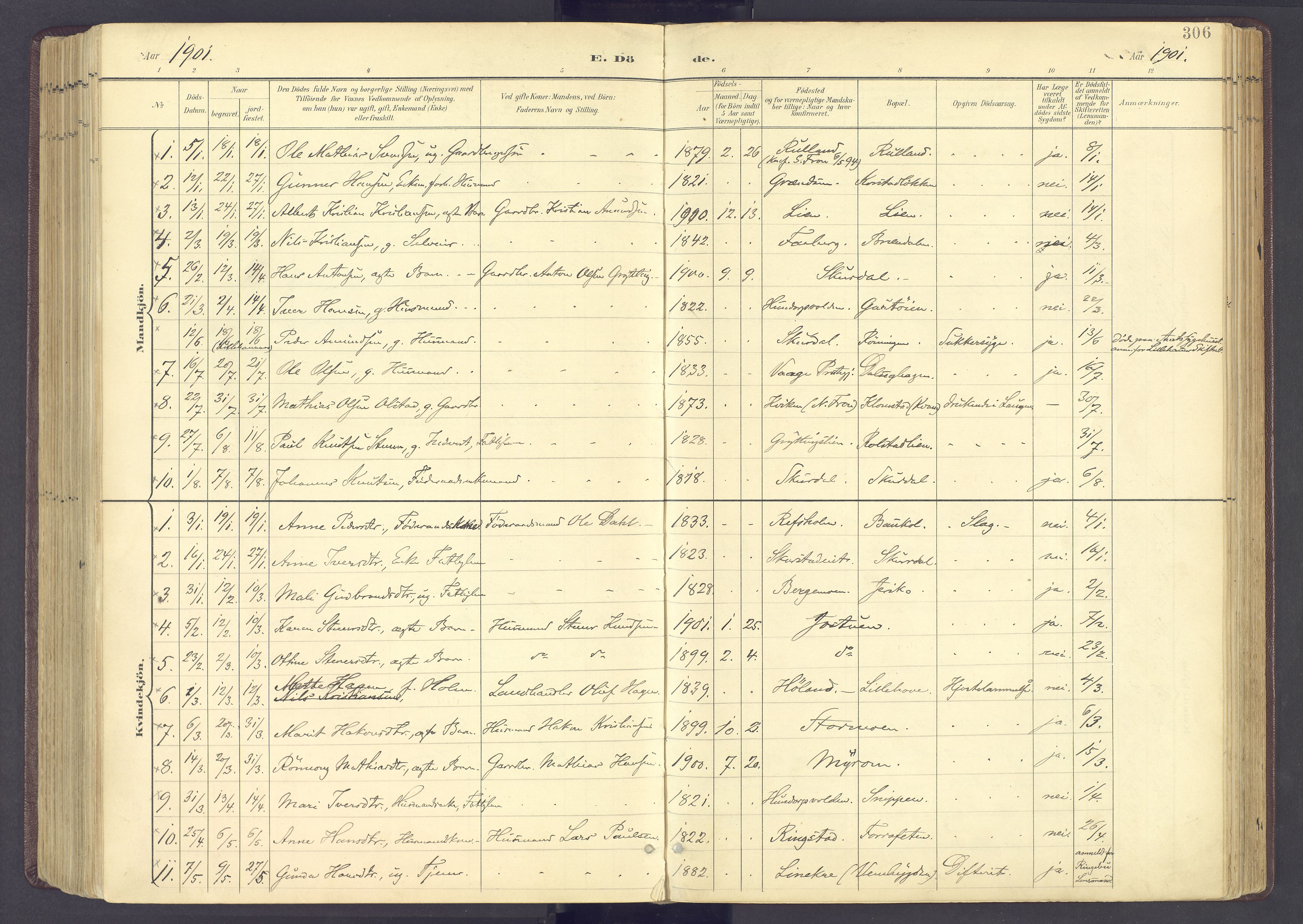SAH, Sør-Fron prestekontor, H/Ha/Haa/L0004: Ministerialbok nr. 4, 1898-1919, s. 306