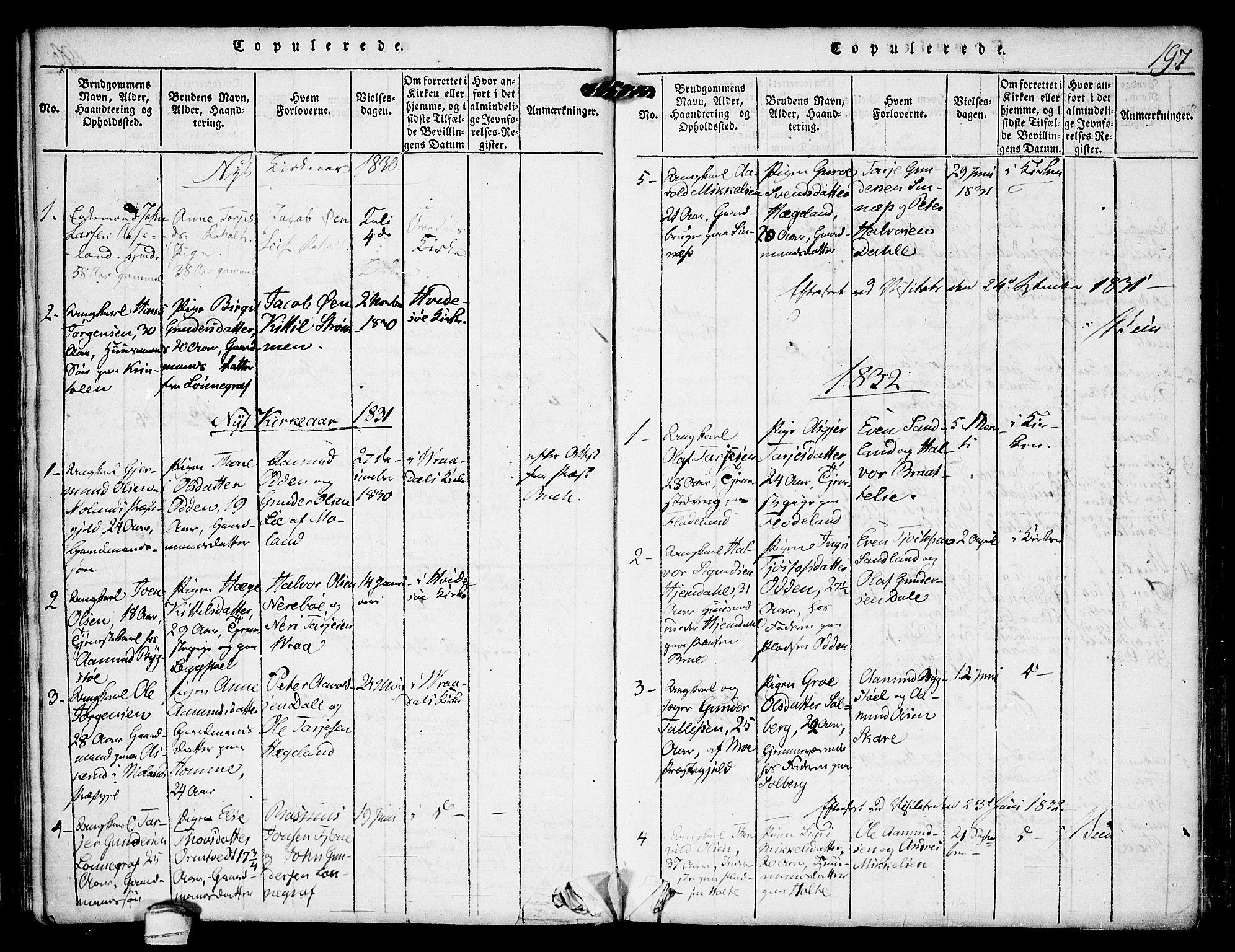SAKO, Kviteseid kirkebøker, F/Fc/L0001: Ministerialbok nr. III 1, 1815-1836, s. 197