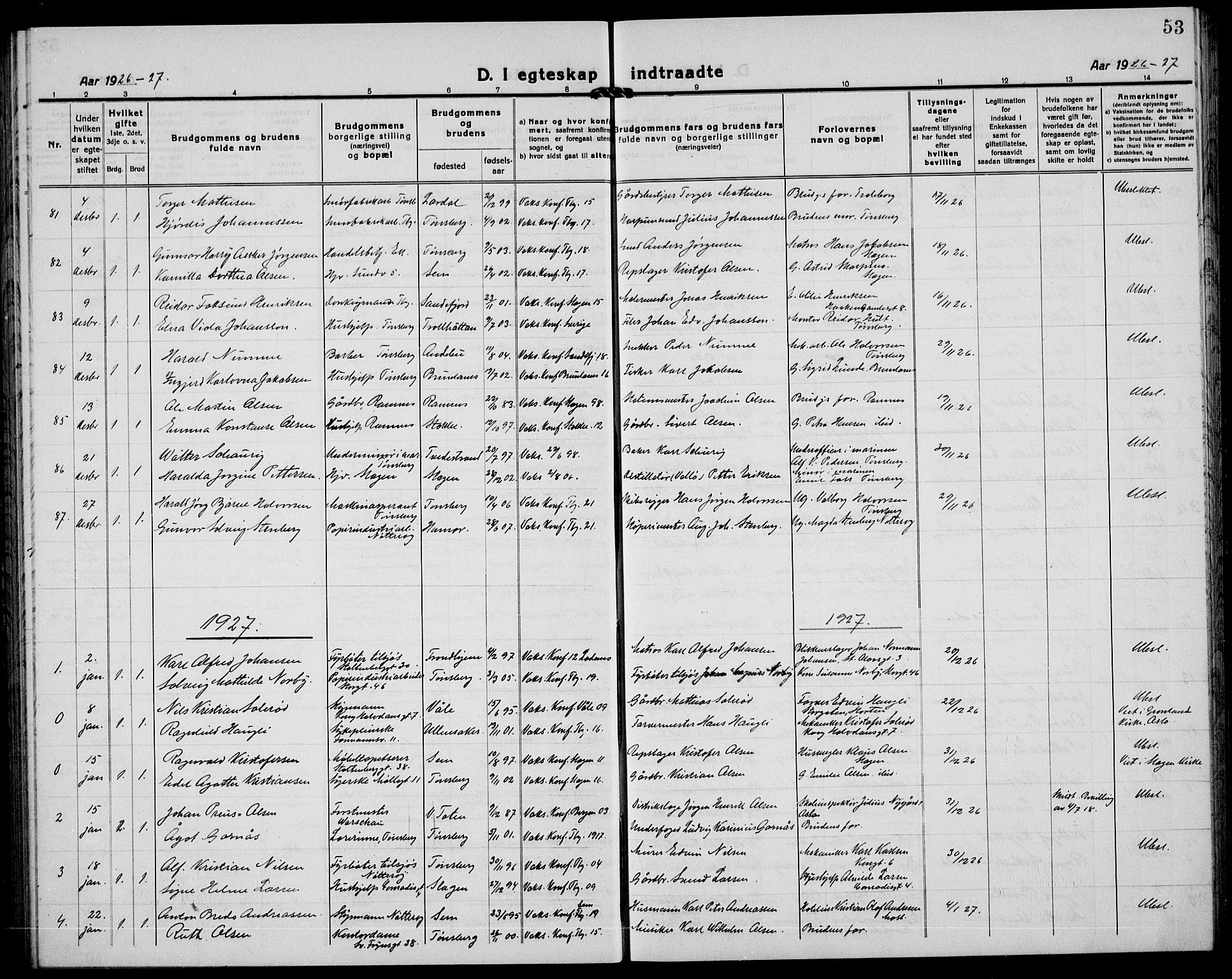 SAKO, Tønsberg kirkebøker, G/Ga/L0016: Klokkerbok nr. 16, 1920-1933, s. 53