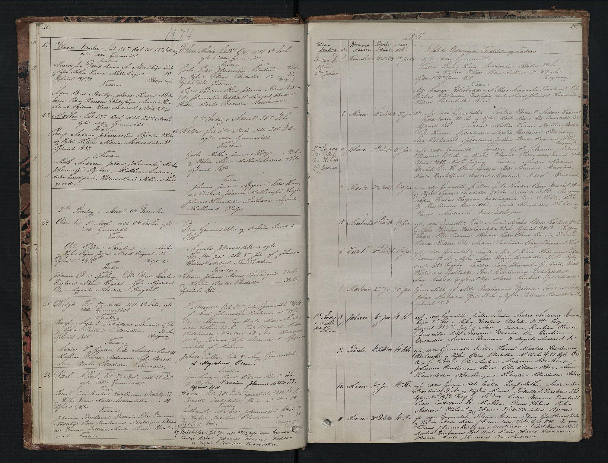 SAH, Vestre Toten prestekontor, H/Ha/Hab/L0007: Klokkerbok nr. 7, 1872-1900, s. 26-27
