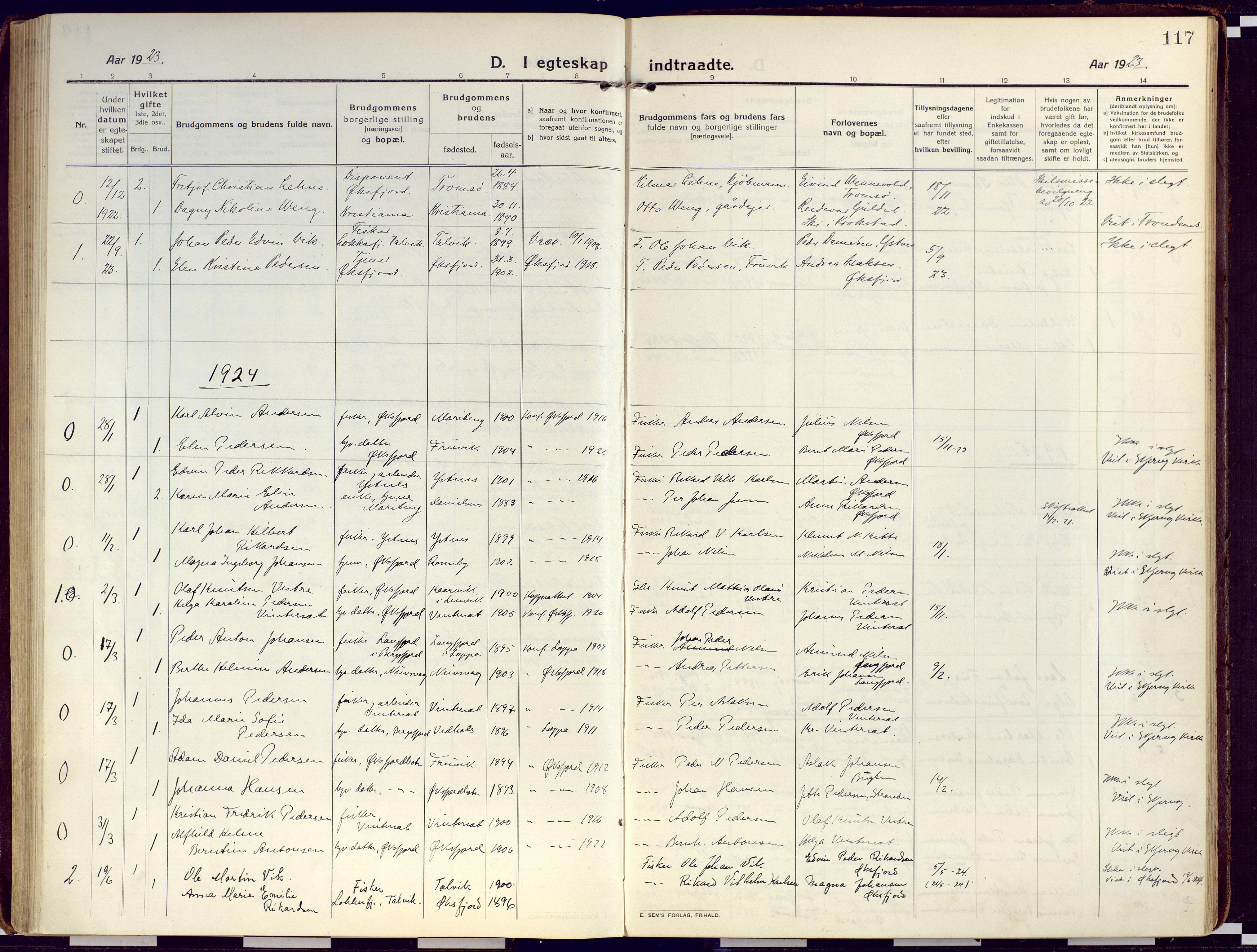 SATØ, Loppa sokneprestkontor, H/Ha/L0012kirke: Ministerialbok nr. 12, 1917-1932, s. 117
